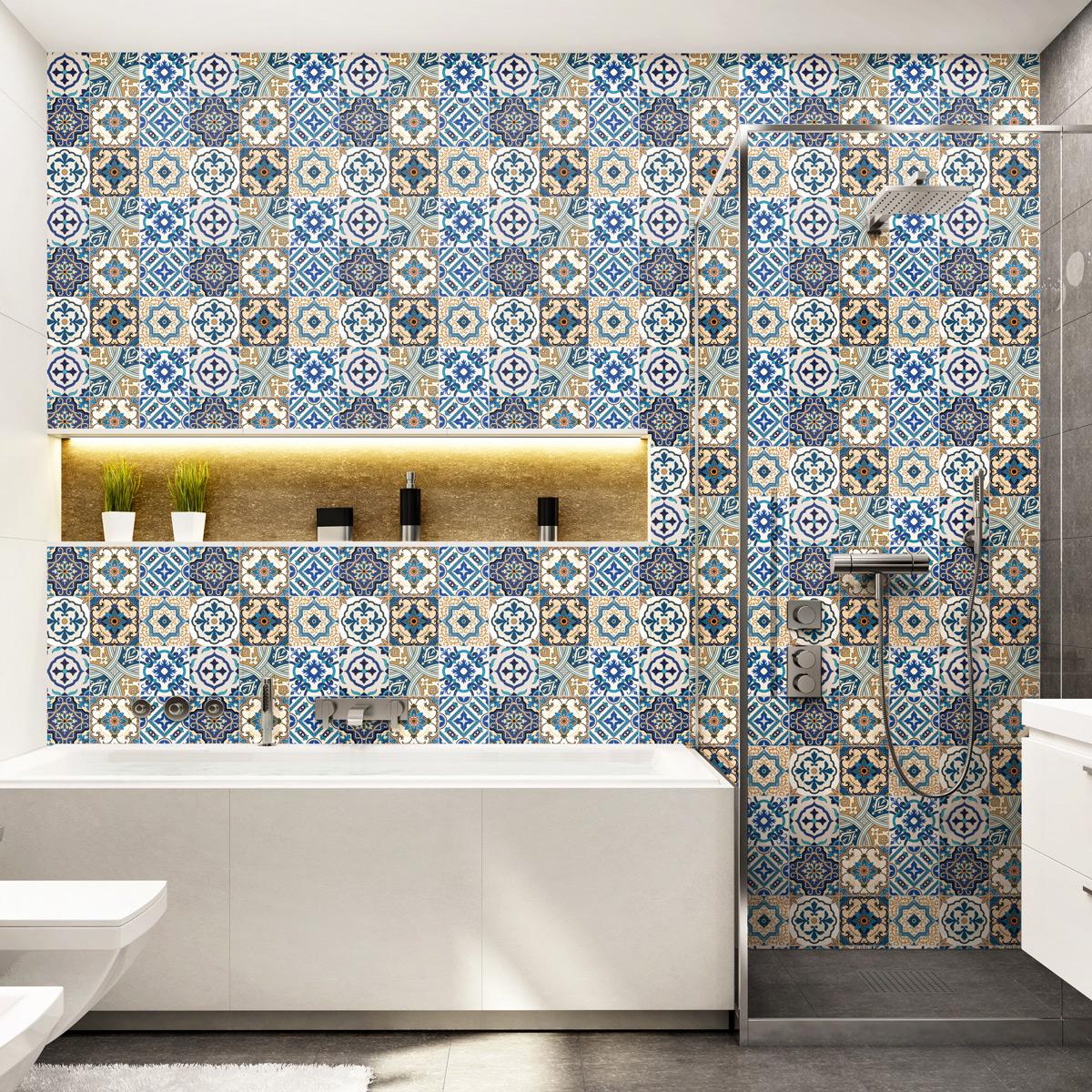 9 stickers carreaux de ciment havana salle de bain et wc salle de bain ambiance sticker. Black Bedroom Furniture Sets. Home Design Ideas