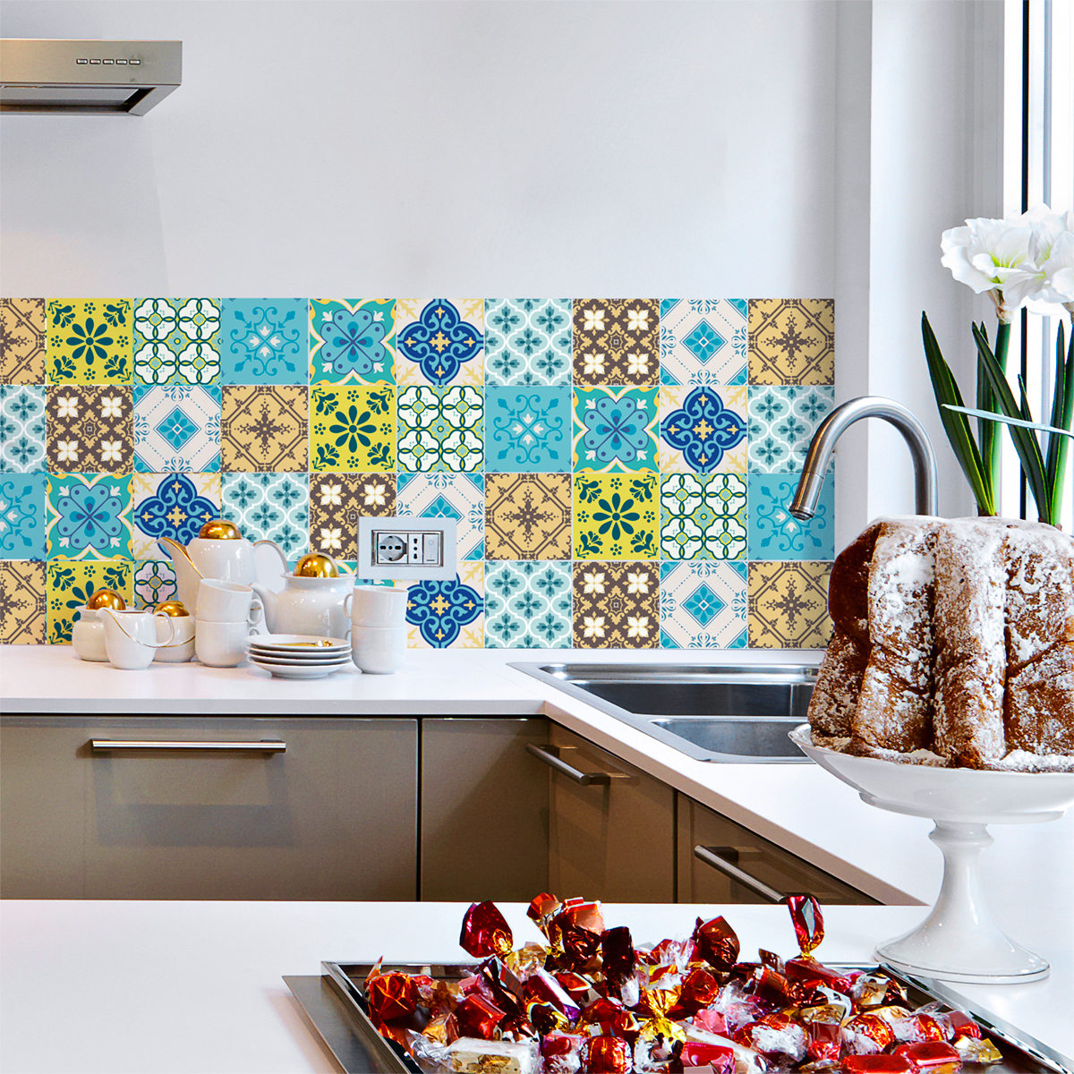 9 stickers carreaux de ciment ibiza cuisine carrelages for Stickers carreaux cuisine