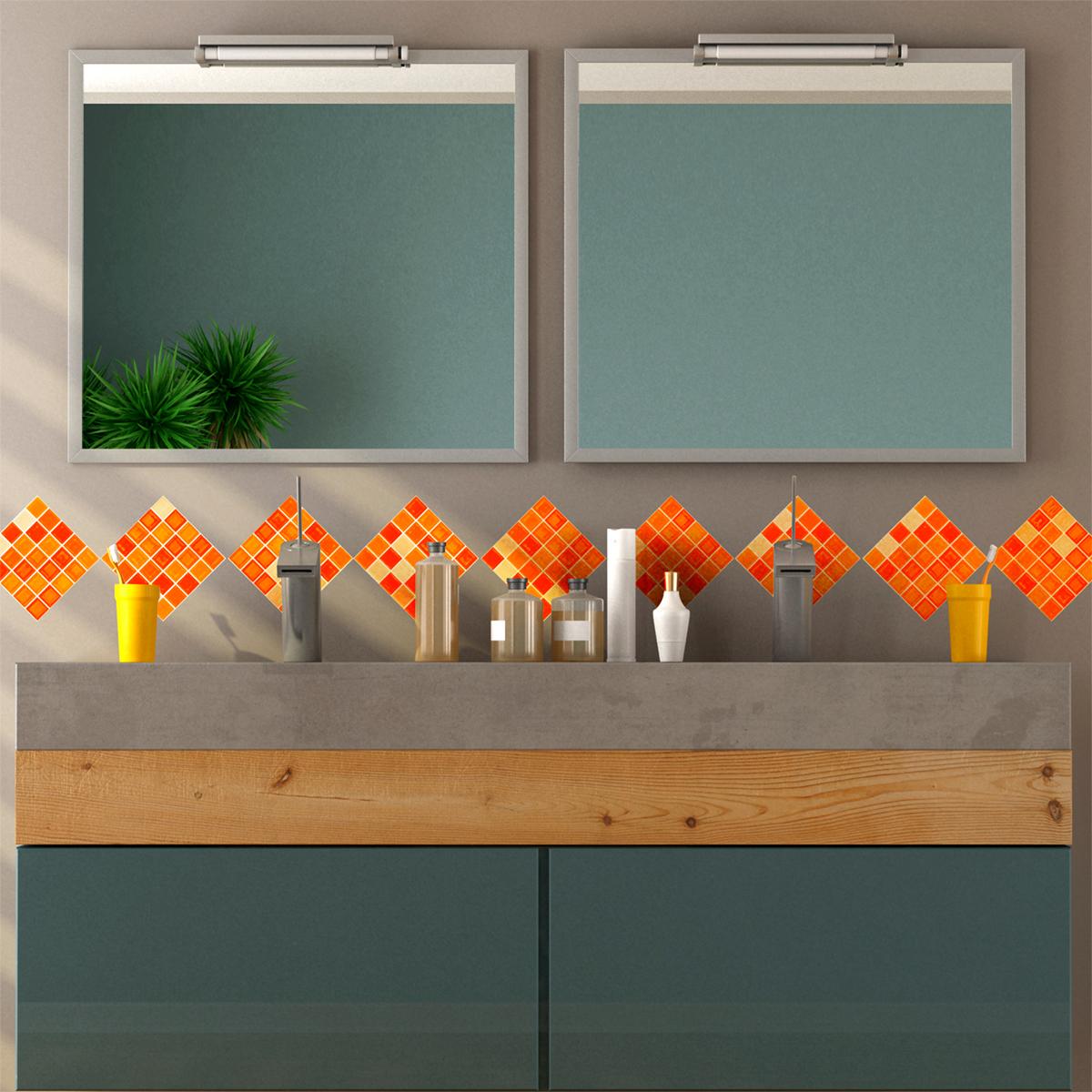 9 stickers carreaux de ciment mosa ques nuance orange art et design artistiques ambiance sticker. Black Bedroom Furniture Sets. Home Design Ideas