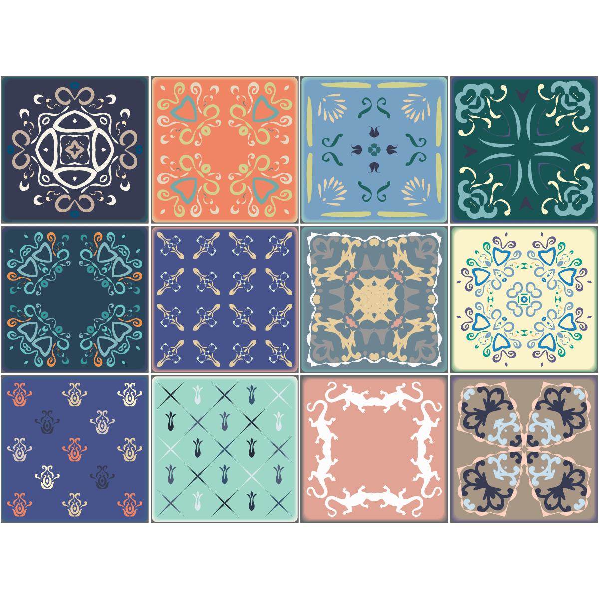 9 stickers carreaux de ciment salta salle de bain et wc for Stickers carreaux de ciment tati