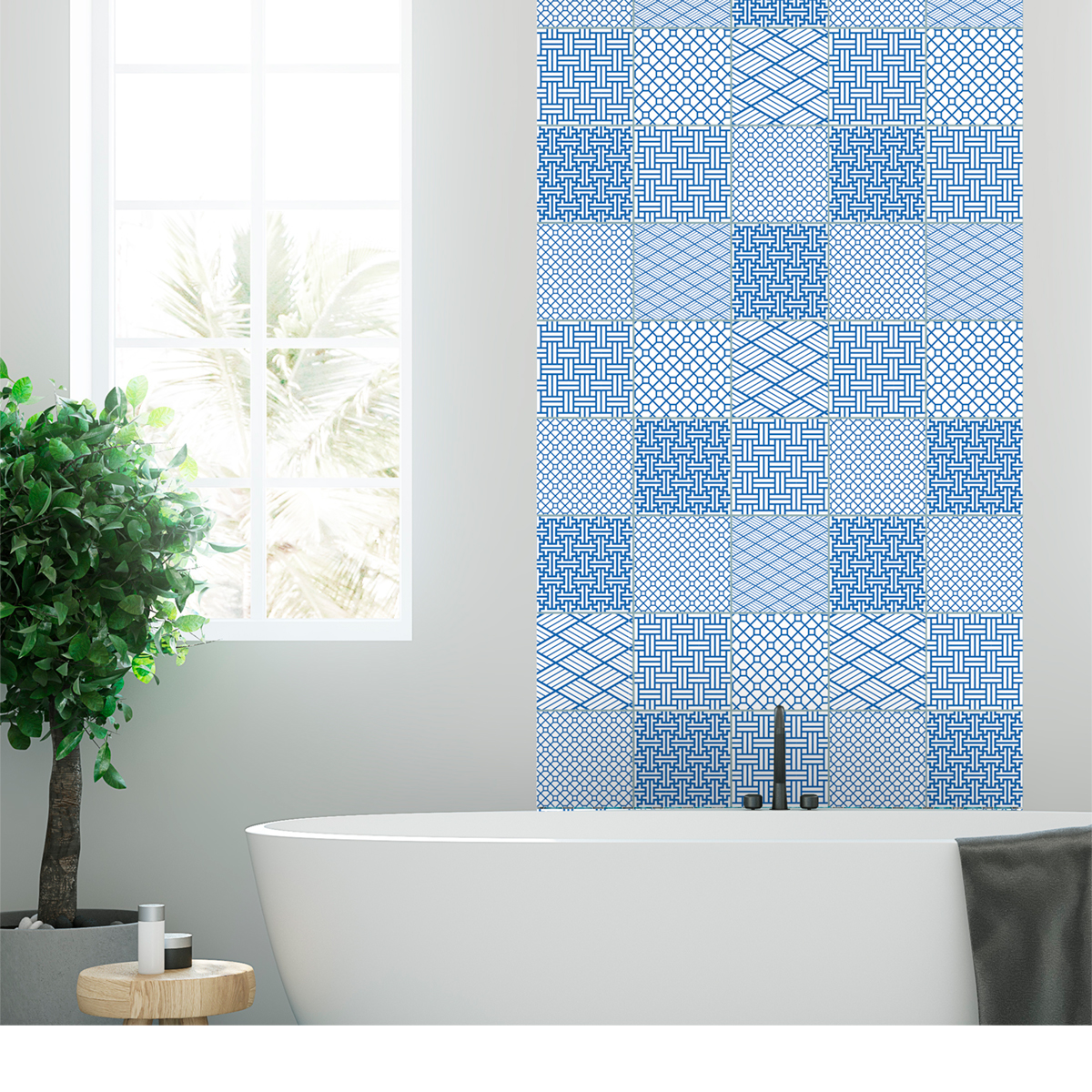 9 stickers carreaux de ciment scandinave finlande salle for Stickers carreaux salle de bain