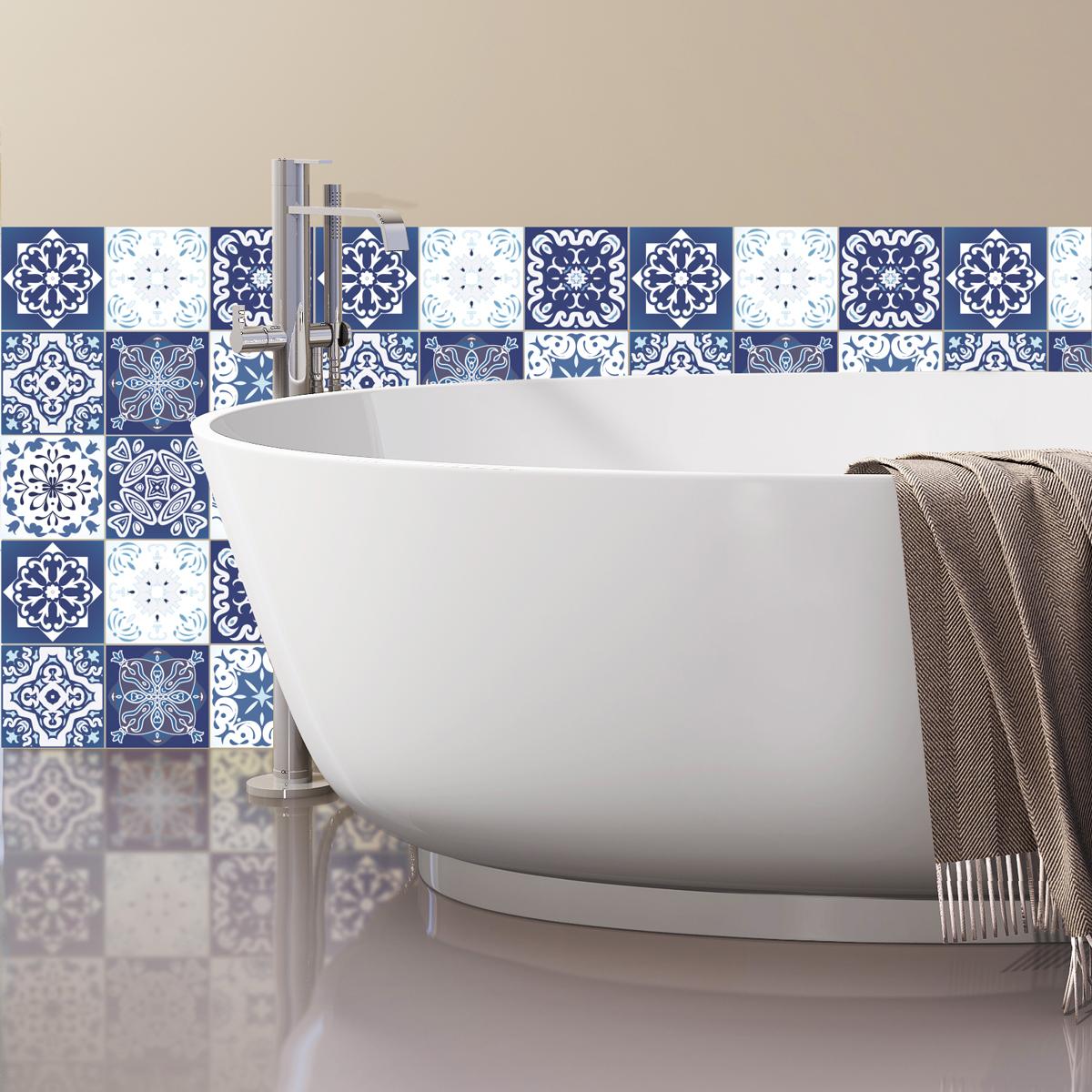 9 stickers carreaux de ciment sirtaki salle de bain et. Black Bedroom Furniture Sets. Home Design Ideas