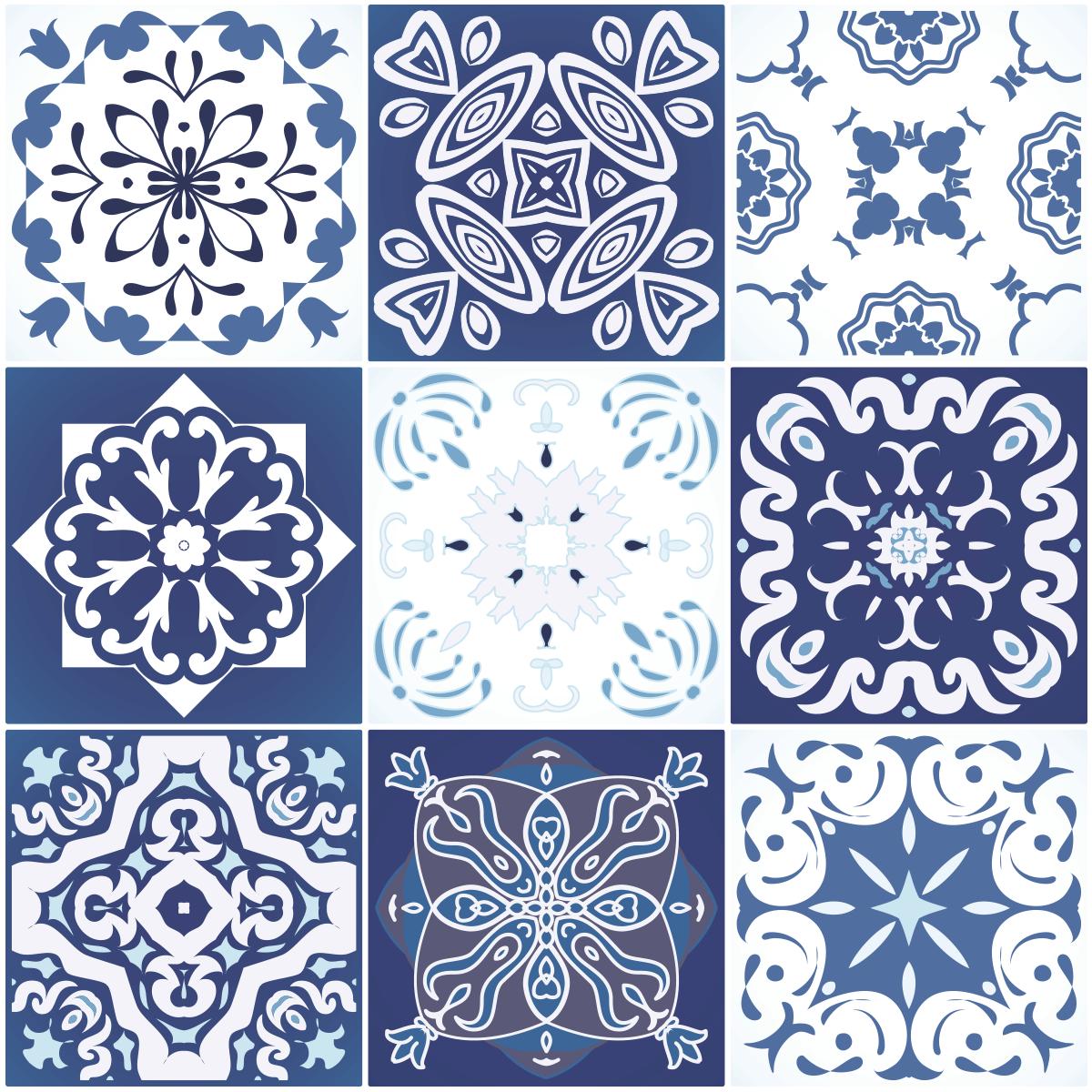 9 stickers carreaux de ciment sirtaki salle de bain et for Stickers carreaux de ciment tati