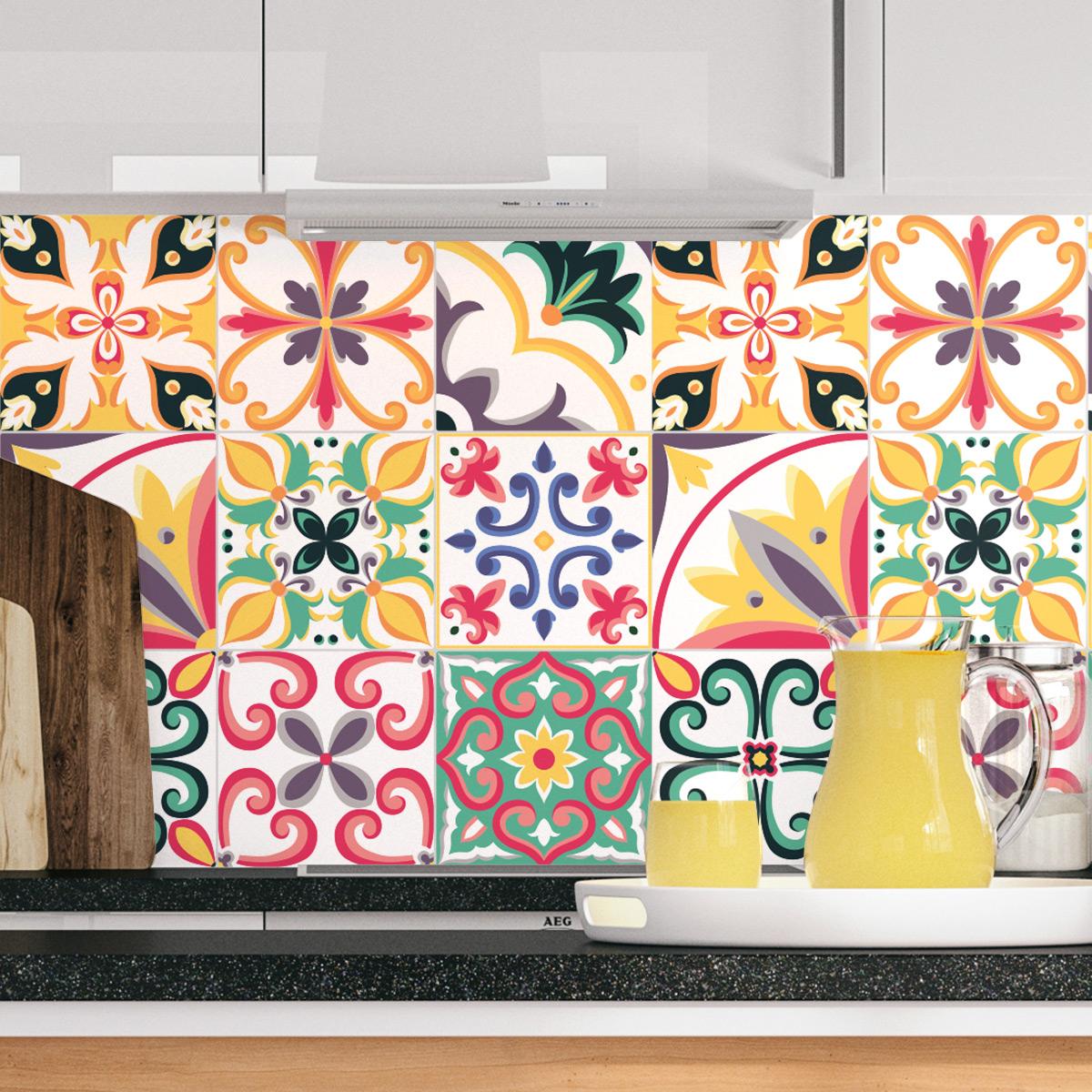 9 stickers carreaux de ciment touaregs salle de bain et. Black Bedroom Furniture Sets. Home Design Ideas