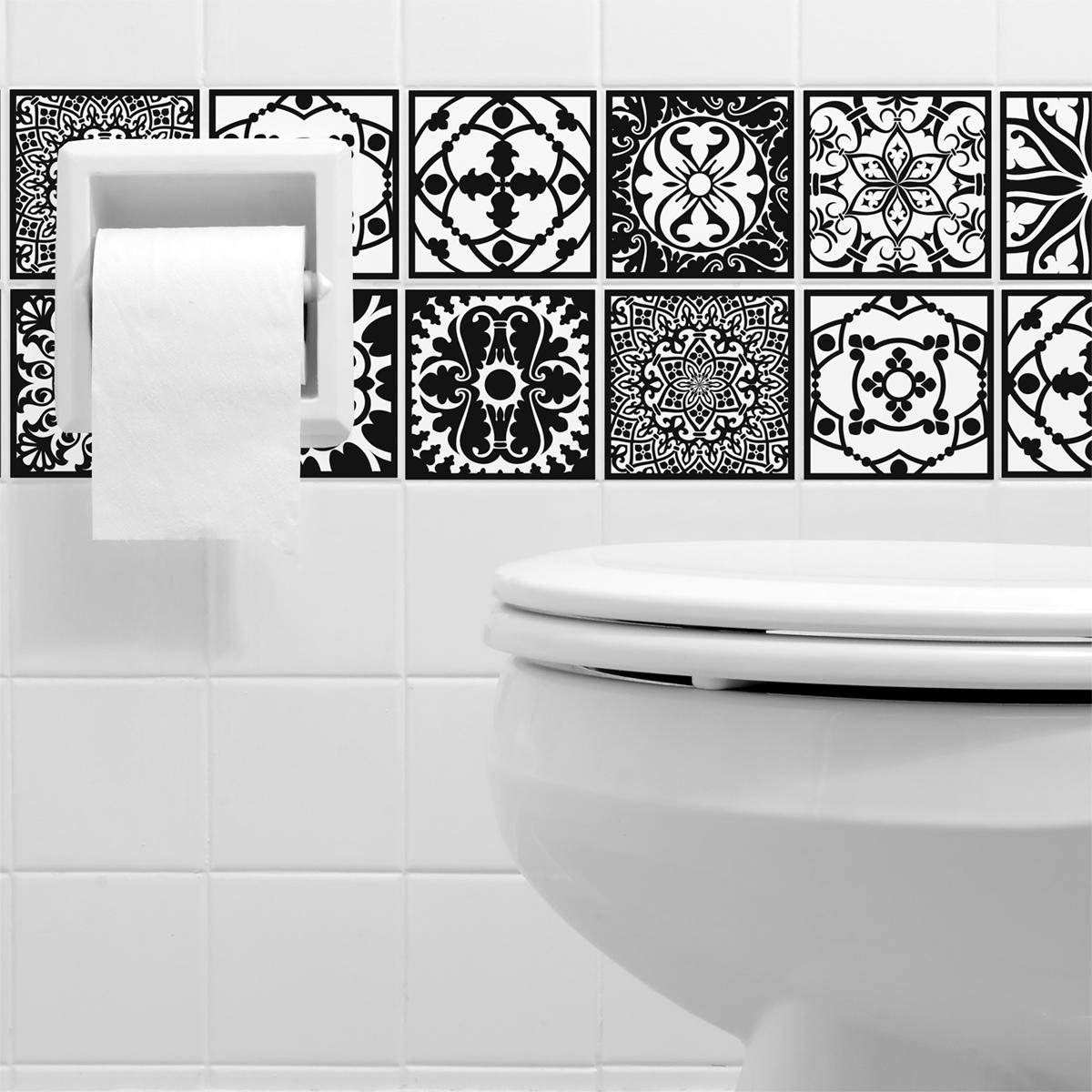9 stickers carrelages azulejos baroque nuance blanc et noir art et design artistiques - Stickers muraux noir et blanc ...