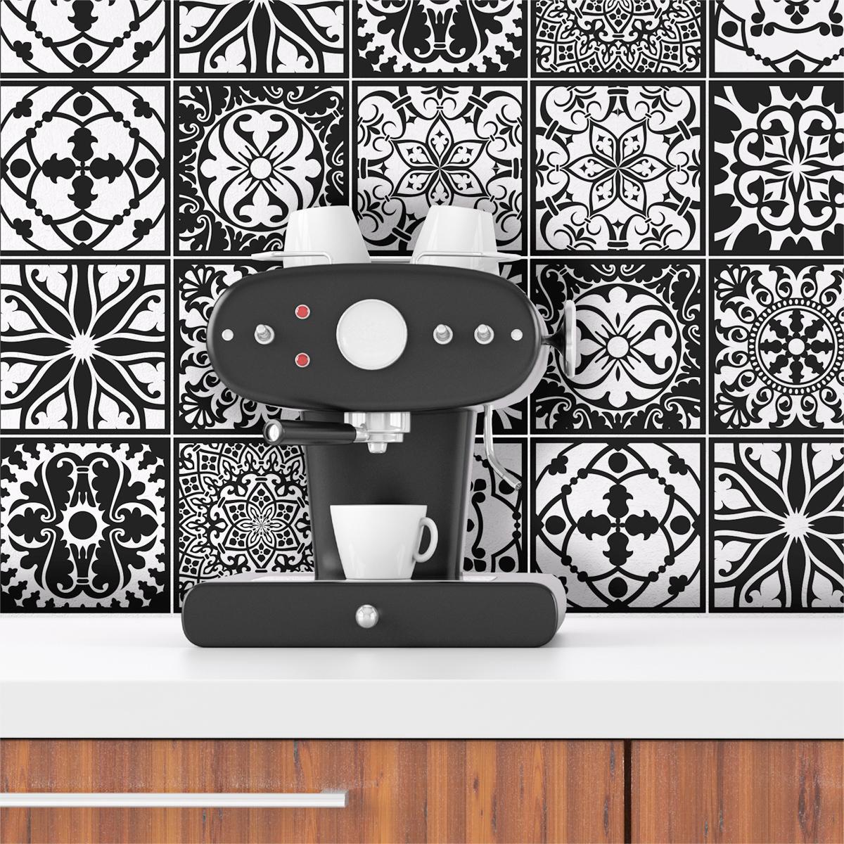 9 stickers carrelages azulejos baroque nuance blanc et. Black Bedroom Furniture Sets. Home Design Ideas