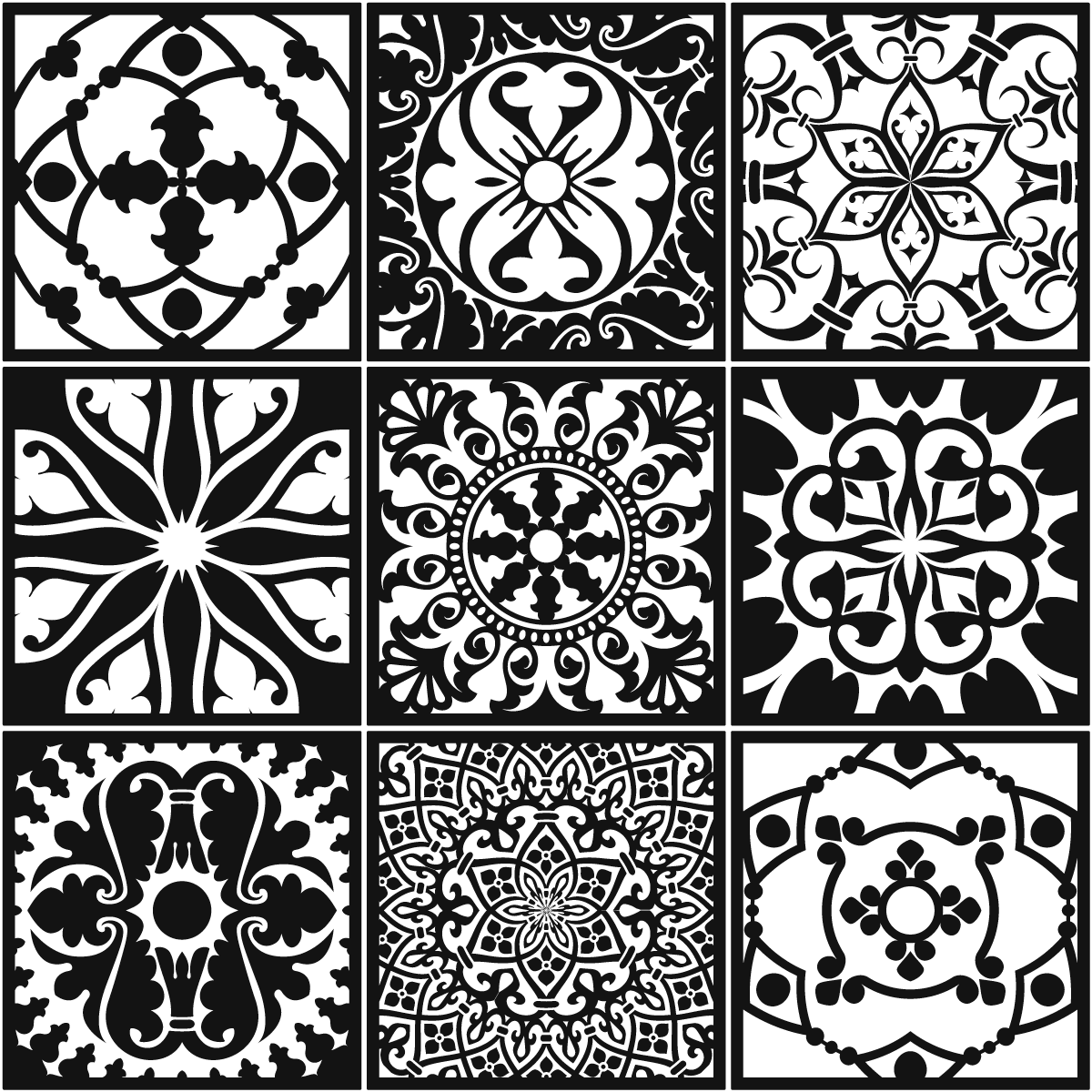 9 stickers carrelages azulejos baroque nuance blanc et. Black Bedroom Furniture Sets. Home Design Ideas