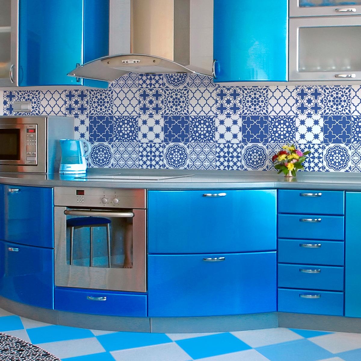 9 stickers carrelages azulejos bleu santorin art et design artistiques ambiance sticker. Black Bedroom Furniture Sets. Home Design Ideas