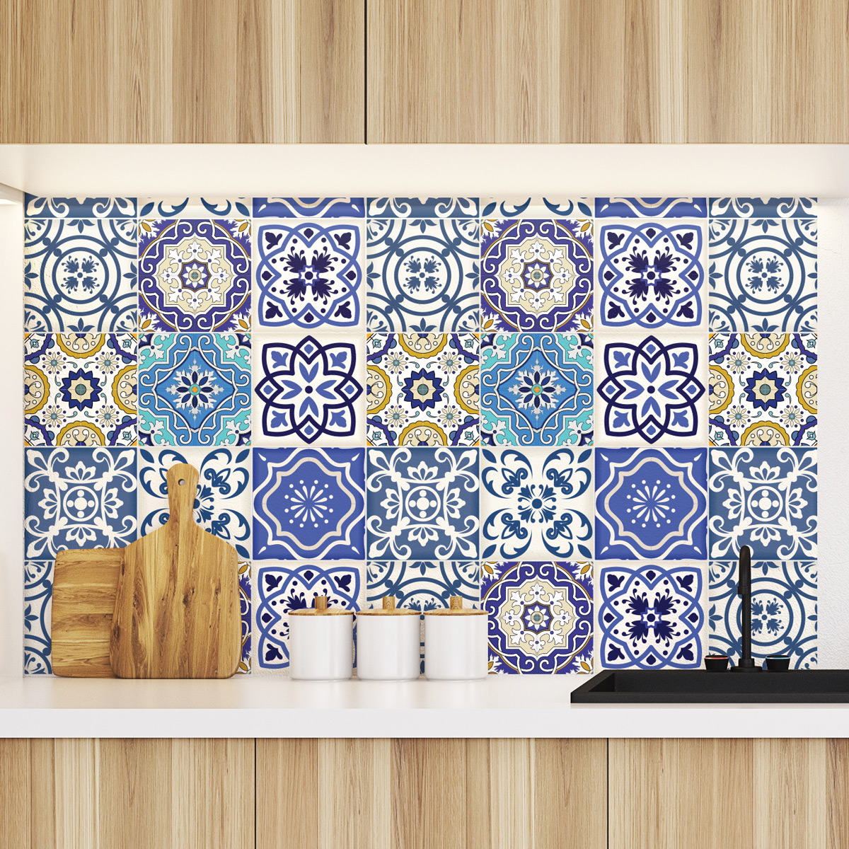 9 stickers carrelages azulejos calypso cuisine. Black Bedroom Furniture Sets. Home Design Ideas