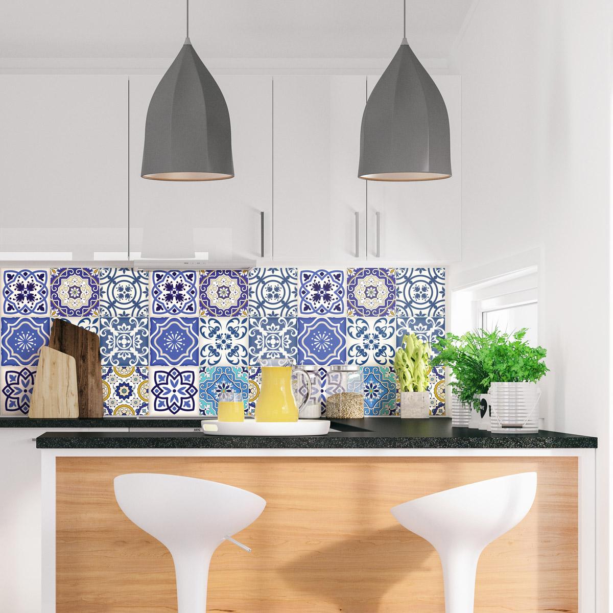 9 stickers carrelages azulejos calypso salle de bain et - Stickers sur carrelage salle de bain ...