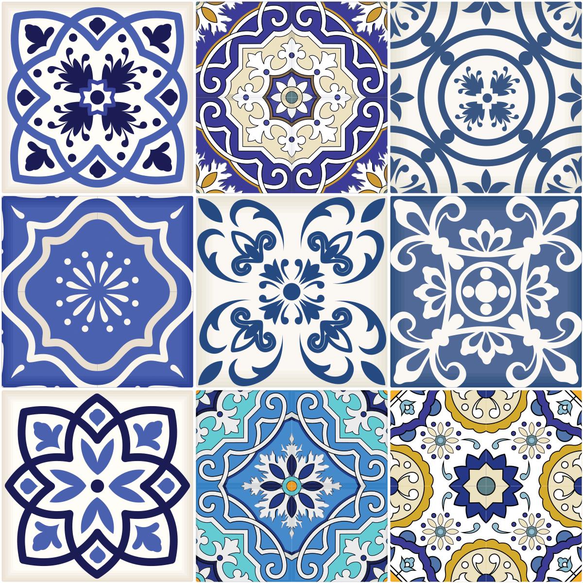 9 stickers carrelages azulejos calypso cuisine carrelages ambiance sticker. Black Bedroom Furniture Sets. Home Design Ideas