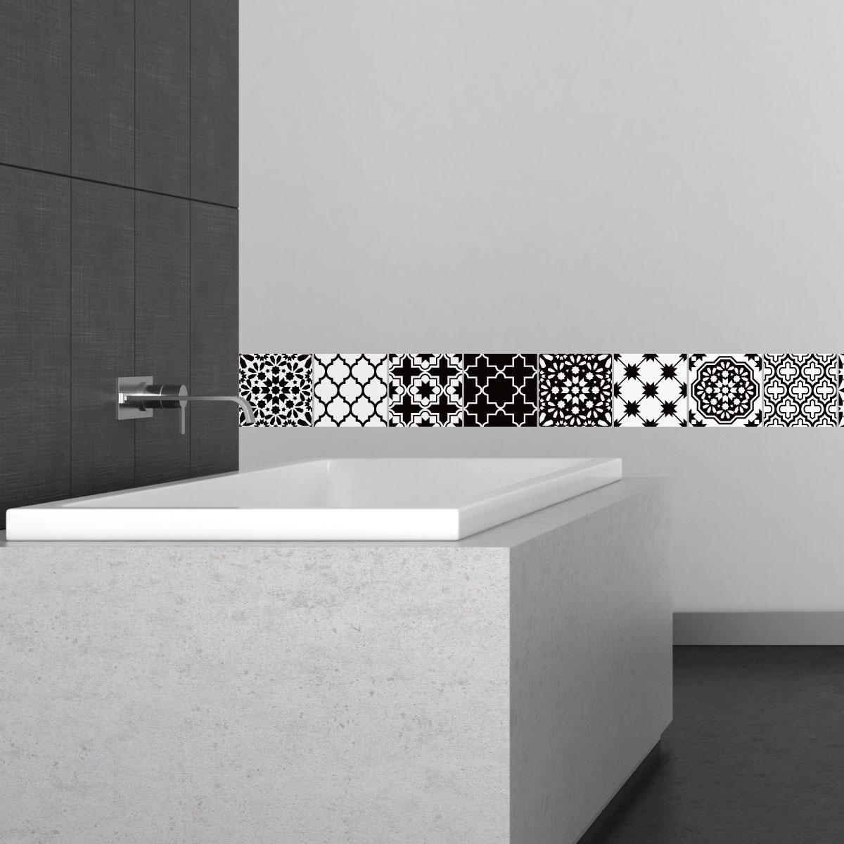 9 stickers carrelages azulejos classique nuance noir et blanc art et design artistiques. Black Bedroom Furniture Sets. Home Design Ideas