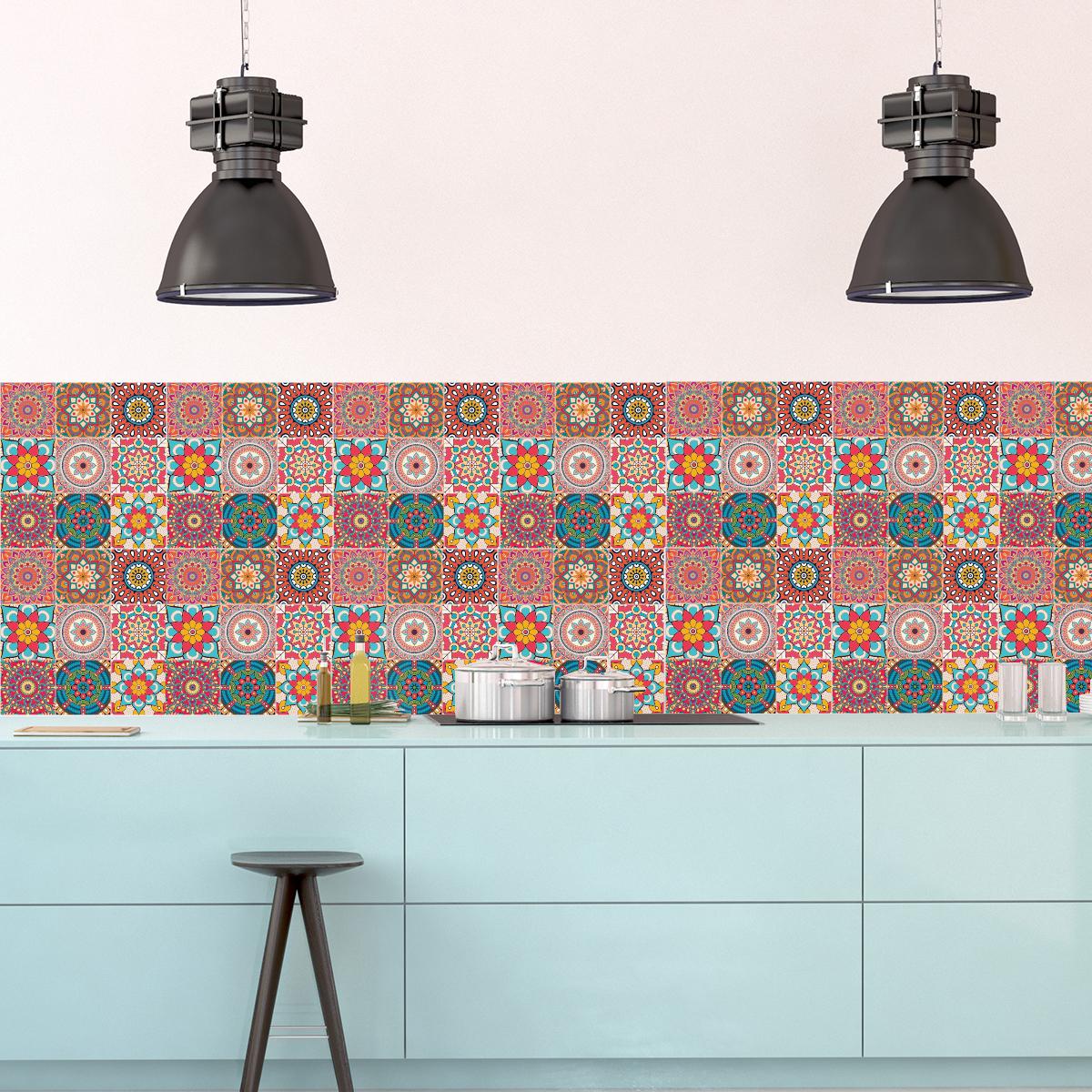 Carrelage Salle De Bain Fleuri ~ 9 stickers carrelages azulejos mandala salle de bain et wc salle