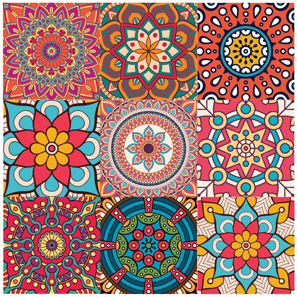 9 stickers carrelages azulejos mandala cuisine design. Black Bedroom Furniture Sets. Home Design Ideas