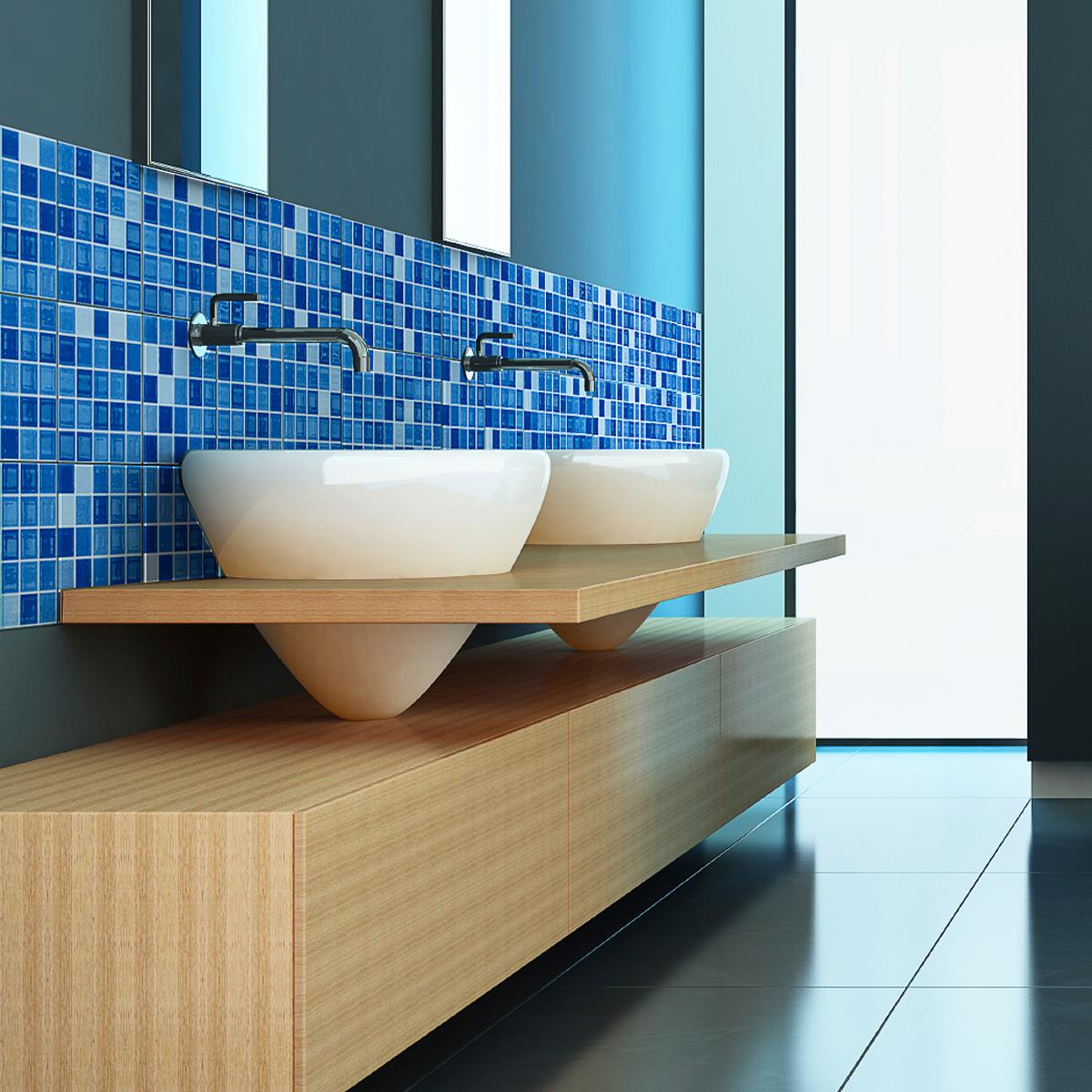 9 stickers carrelages azulejos mosa ques nuance de bleu. Black Bedroom Furniture Sets. Home Design Ideas