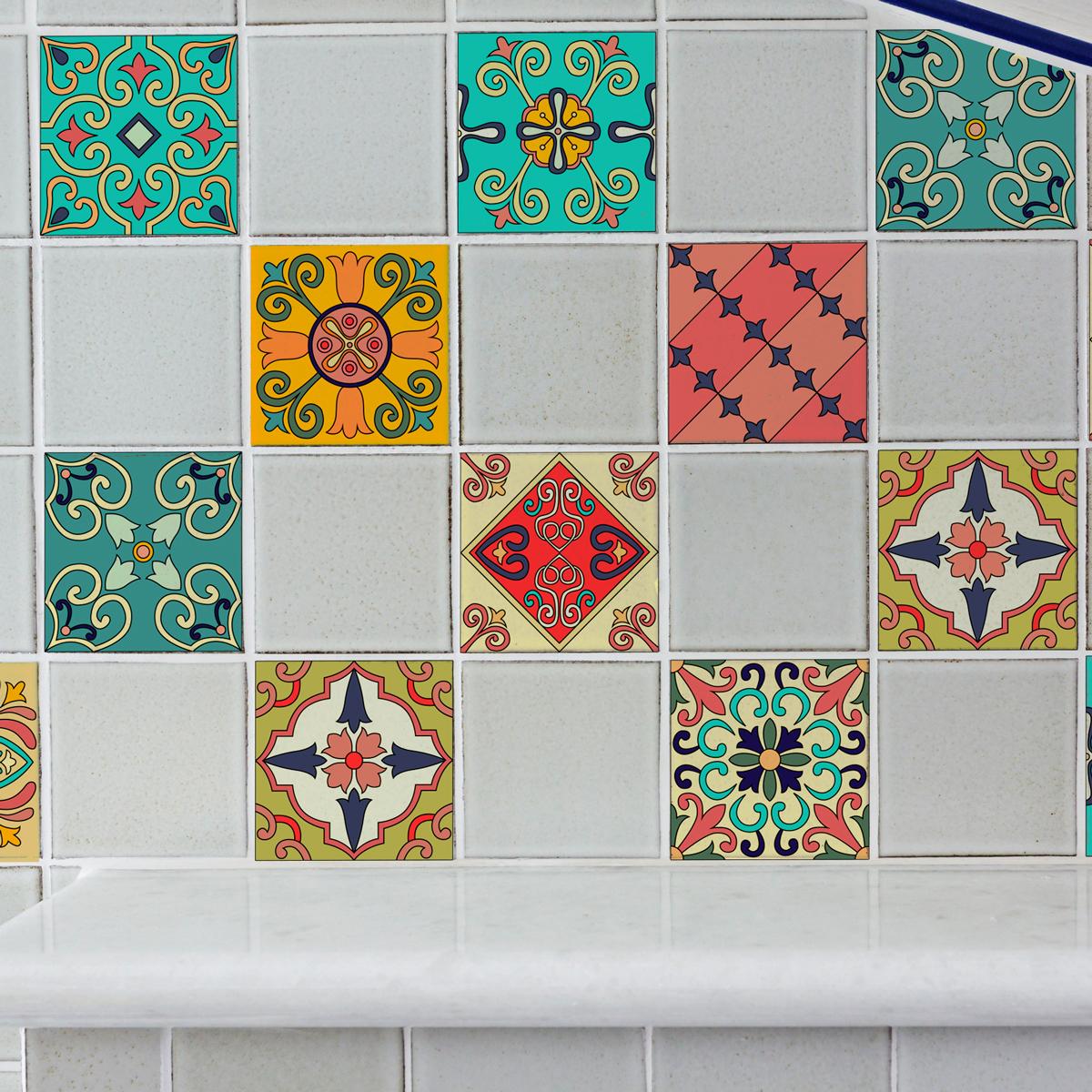 9 stickers carrelages azulejos mosa ques orientales art et design artistiques ambiance sticker. Black Bedroom Furniture Sets. Home Design Ideas