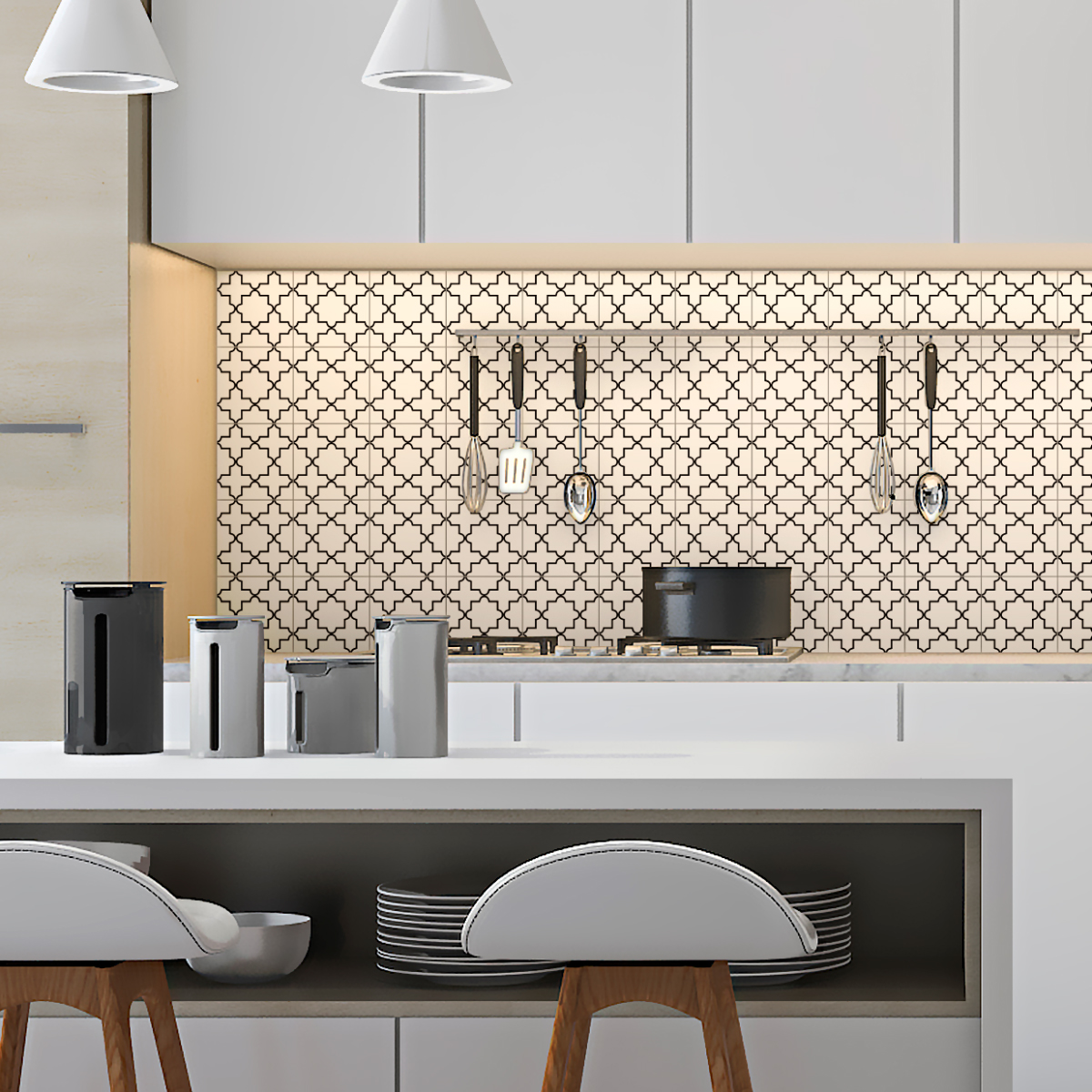9 stickers carrelages azulejos noir et blanc art et. Black Bedroom Furniture Sets. Home Design Ideas