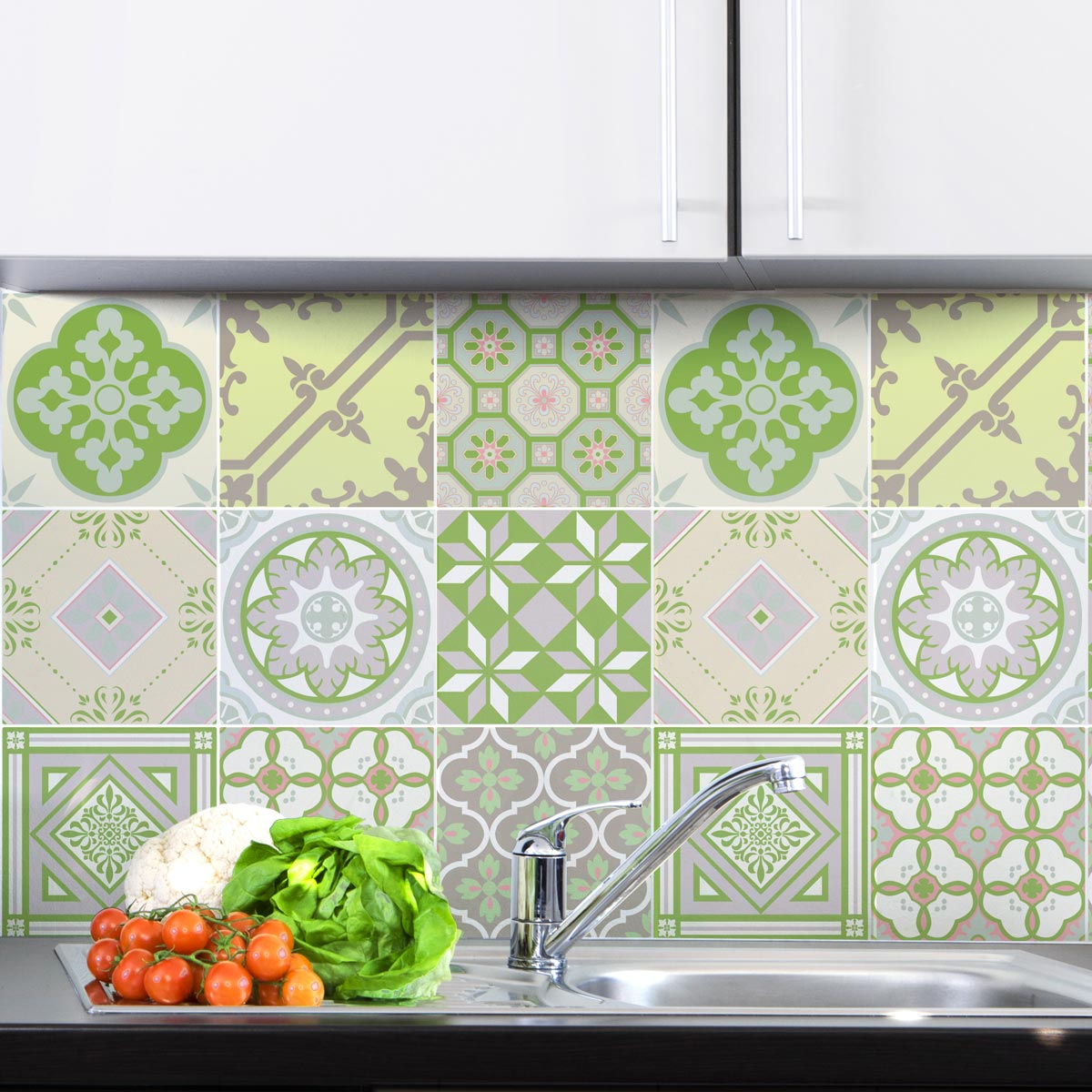 9 stickers carrelages azulejos nuance de vert art et design artistiques ambiance sticker. Black Bedroom Furniture Sets. Home Design Ideas