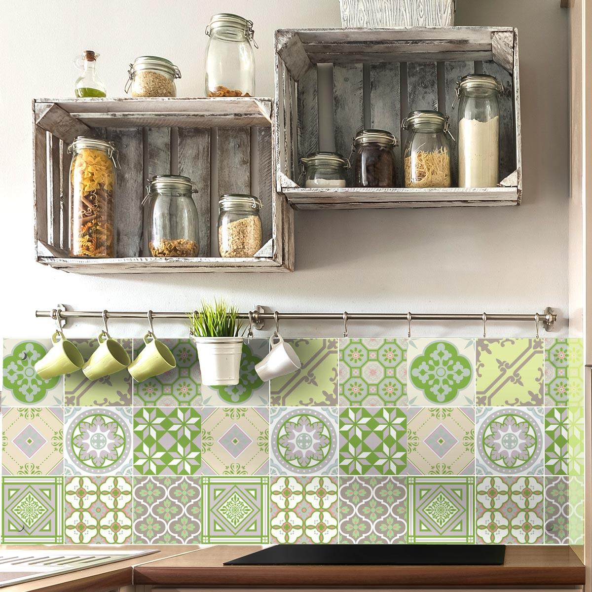 Beaufiful stickers carrelage cuisine 15x15 photos for Carrelage mural salle de bain vert