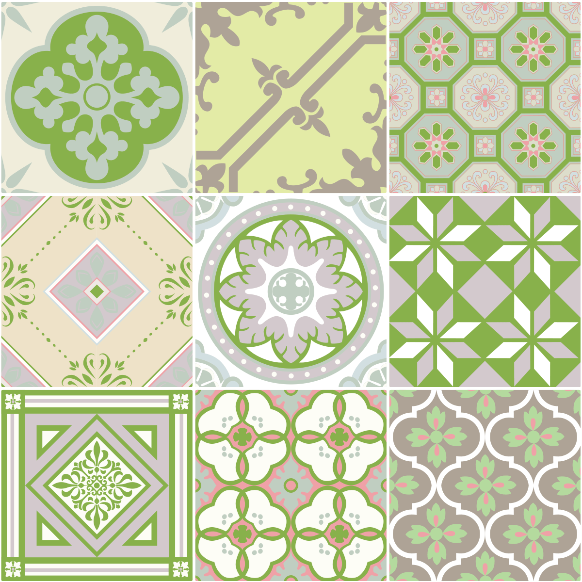 9 stickers carrelages azulejos nuance de vert art et. Black Bedroom Furniture Sets. Home Design Ideas