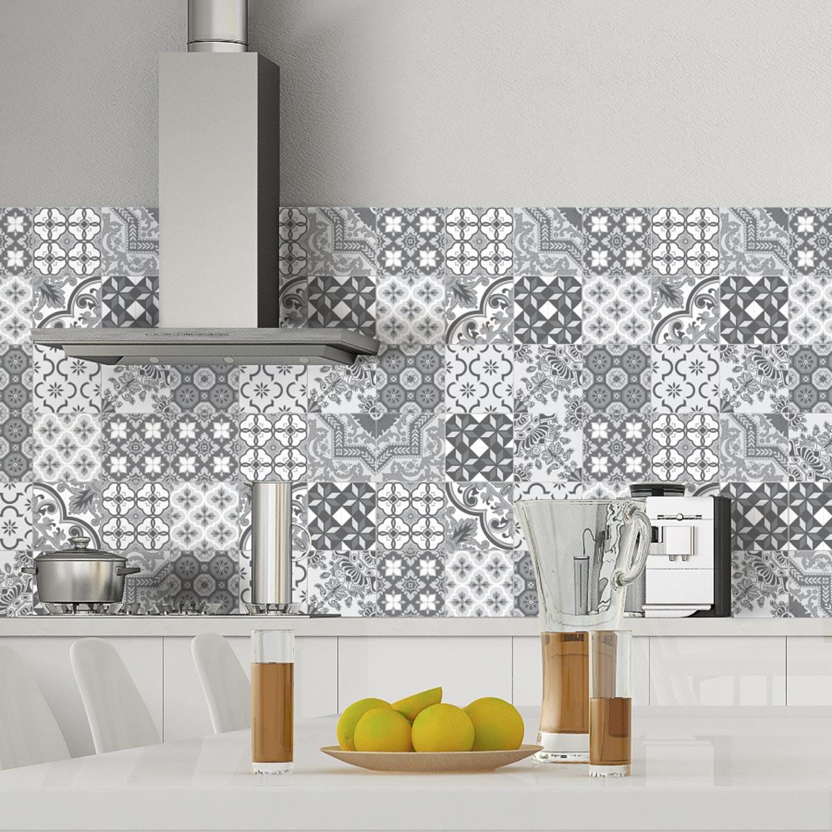 9 stickers carrelages azulejos nuances de gris monte carlo. Black Bedroom Furniture Sets. Home Design Ideas