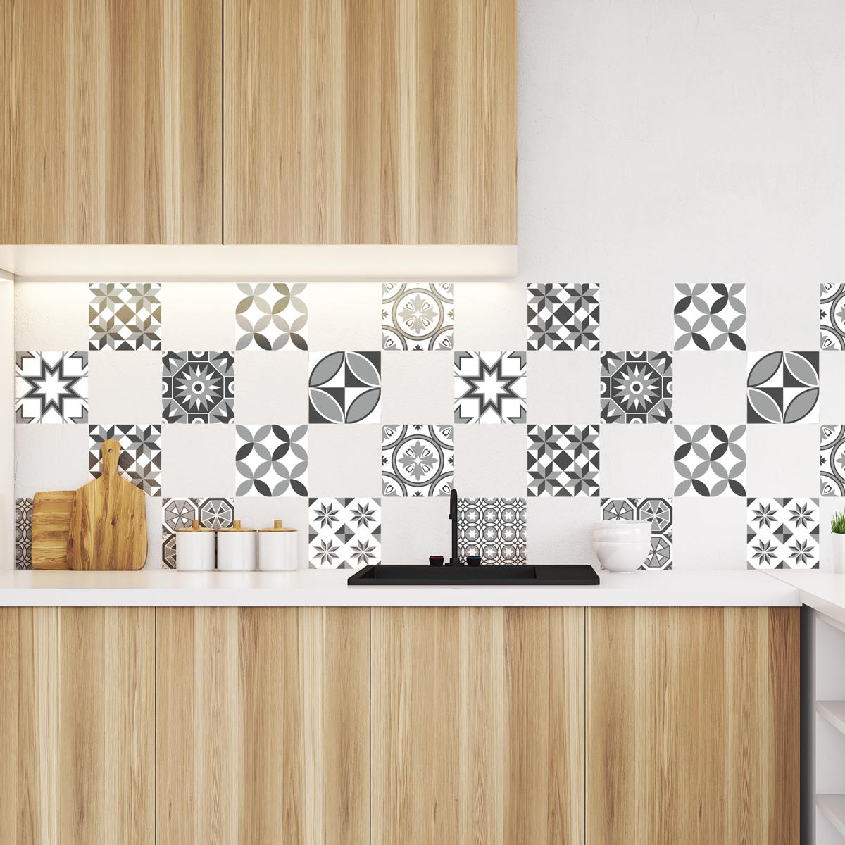 9 stickers carrelages azulejos nuances de gris sotchi cuisine carrelages ambiance sticker. Black Bedroom Furniture Sets. Home Design Ideas