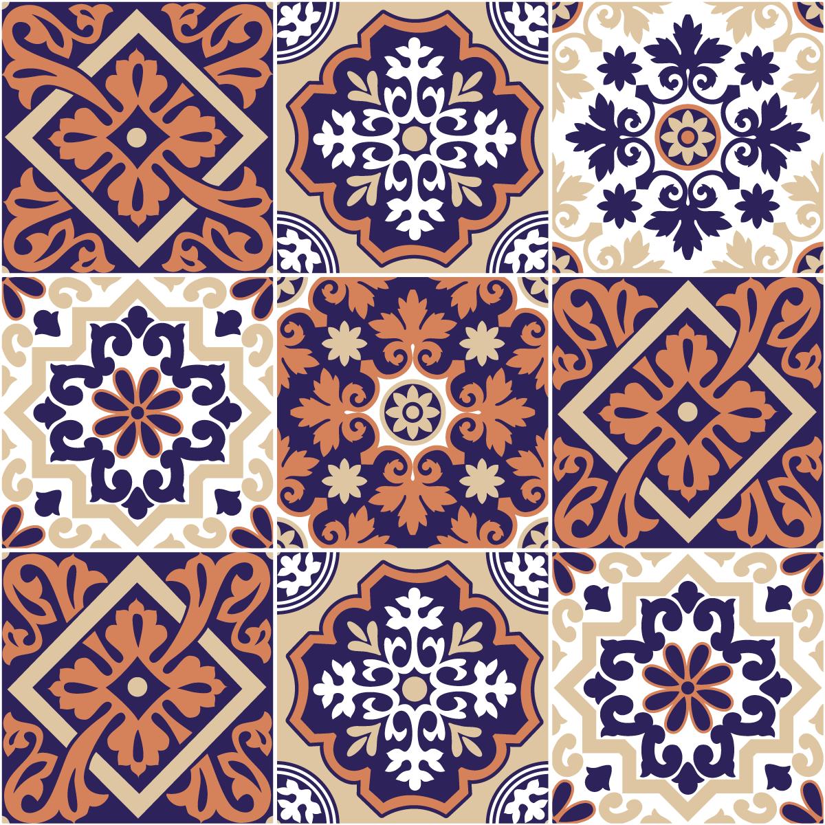 9 stickers carrelages azulejos ornement arabesque art et. Black Bedroom Furniture Sets. Home Design Ideas