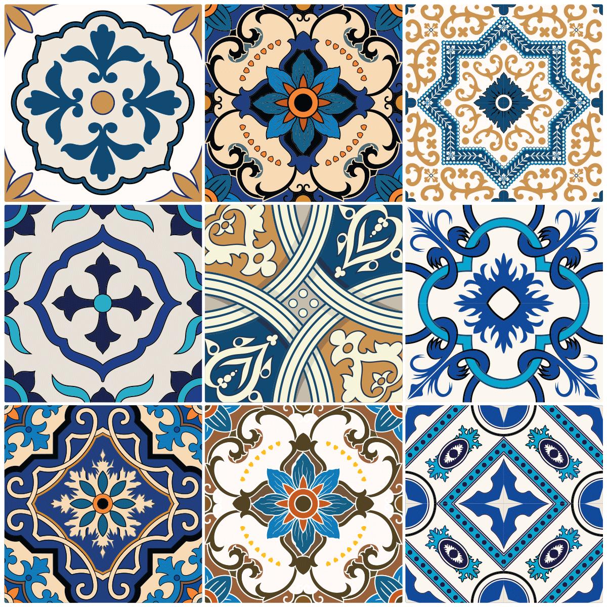 9 stickers carrelages azulejos ornements antiques art et. Black Bedroom Furniture Sets. Home Design Ideas