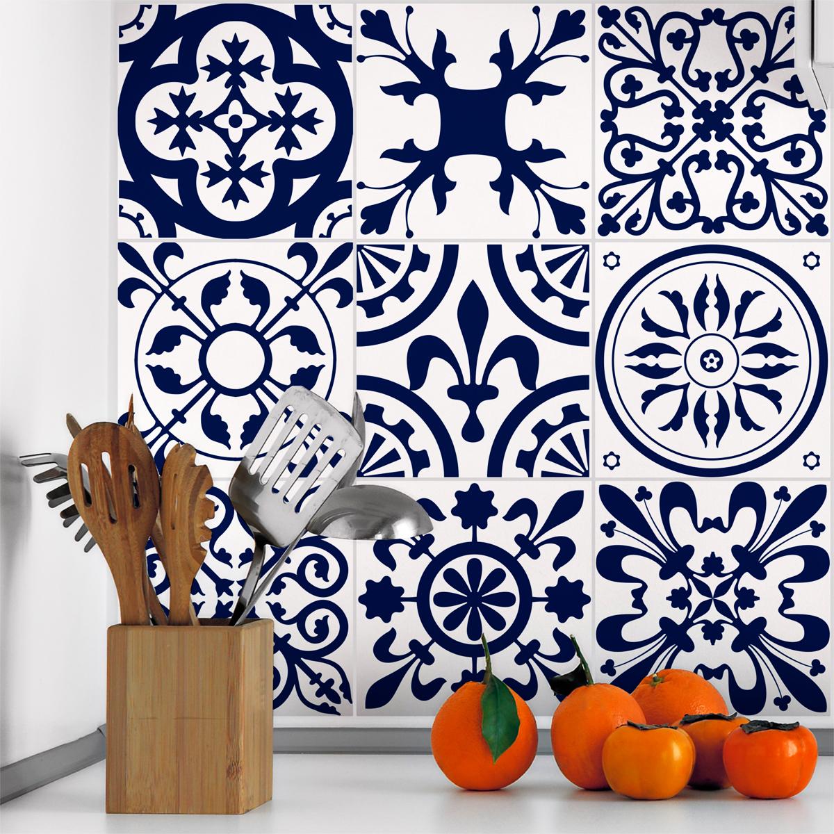 9 stickers carrelages azulejos ornements antiques vintage. Black Bedroom Furniture Sets. Home Design Ideas