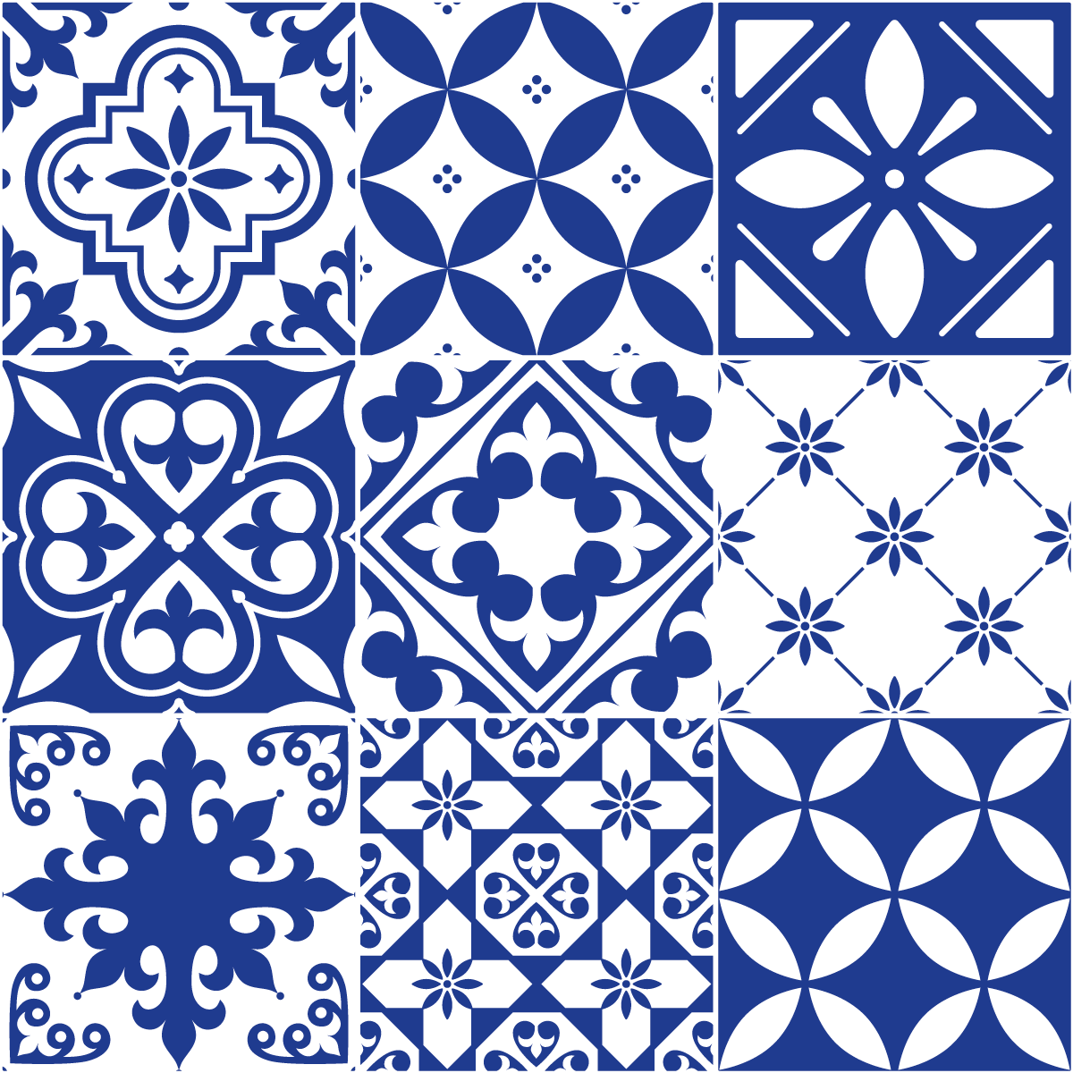 9 stickers carrelages azulejos ornements bleu gyptien for Carrelage mural azulejos