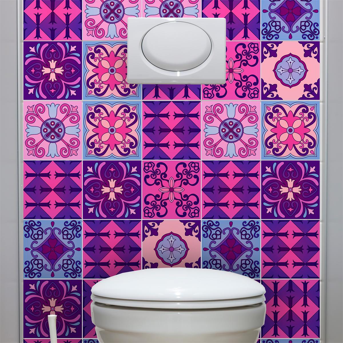 9 stickers carrelages azulejos violet byzantine art et design artistiques ambiance sticker. Black Bedroom Furniture Sets. Home Design Ideas