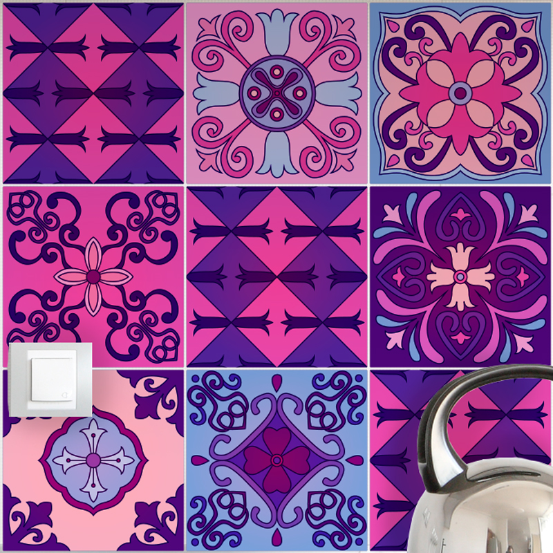 9 stickers carrelages azulejos violet byzantine art et for Carrelage mural azulejos