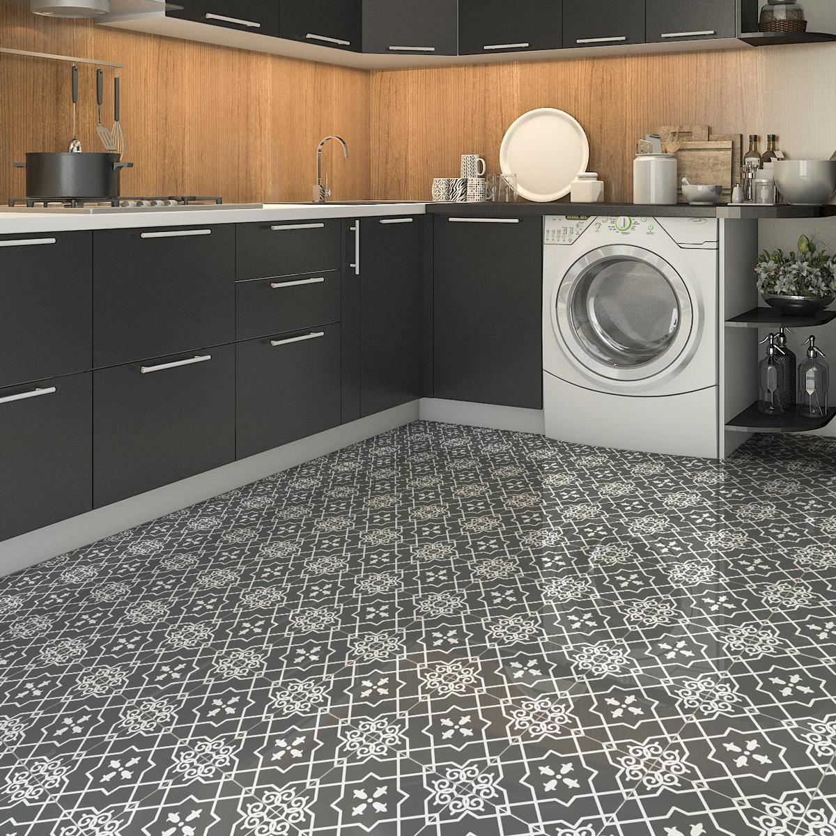 9 stickers sol carreaux de ciment luiz anti d rapant salle de bain et wc salle de bain. Black Bedroom Furniture Sets. Home Design Ideas