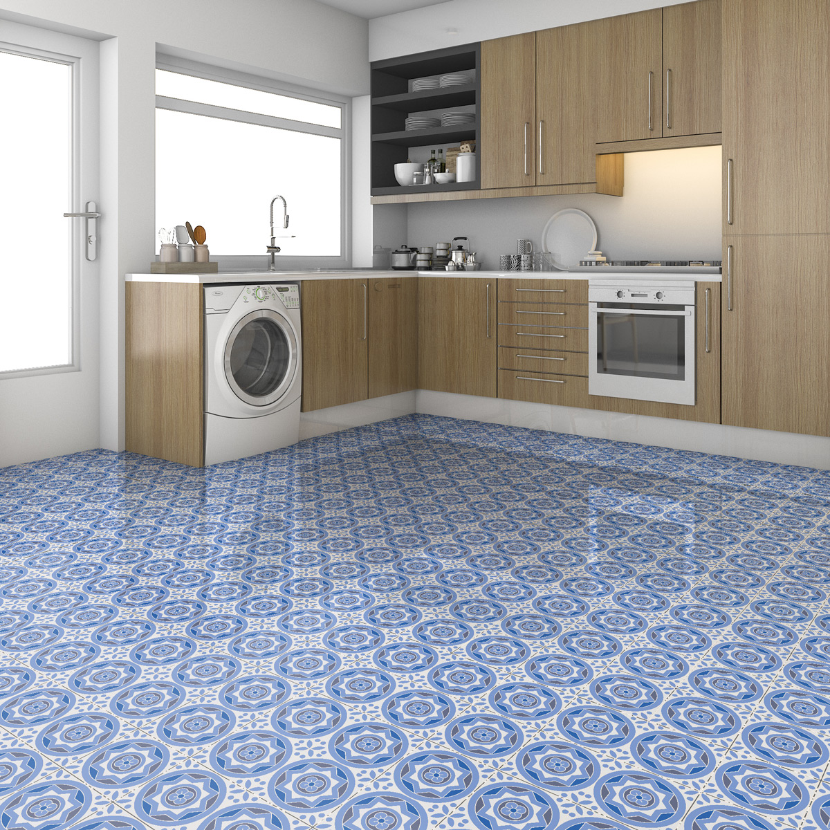 9 stickers sol carreaux de ciment ornella anti d rapant cuisine carrelages ambiance sticker. Black Bedroom Furniture Sets. Home Design Ideas
