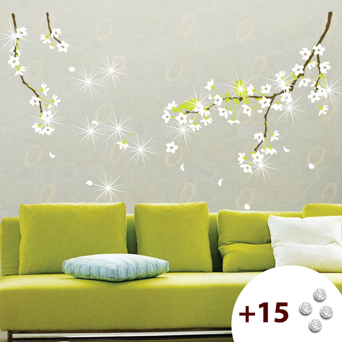 stickers muraux fleurs sticker fleurs de poirier ambiance. Black Bedroom Furniture Sets. Home Design Ideas