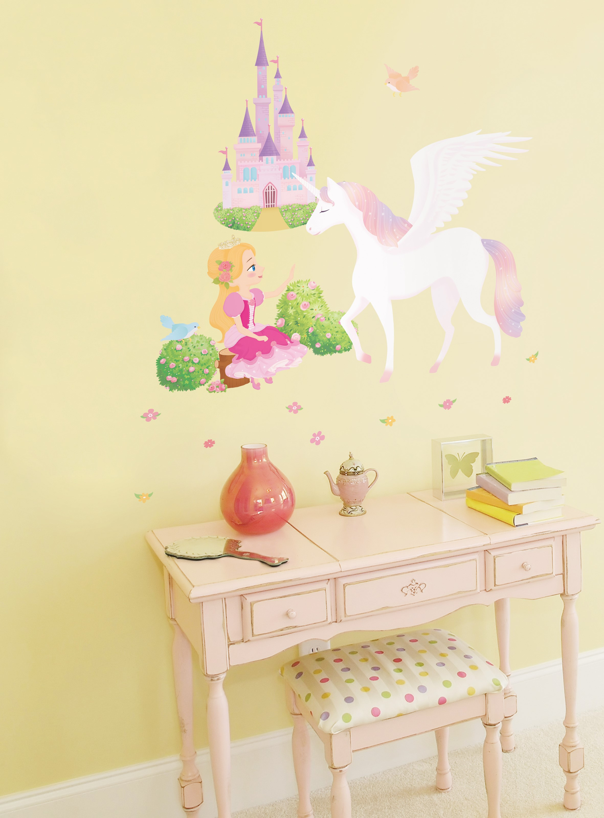 Stickers muraux animaux   sticker princesse, licorne et château ...