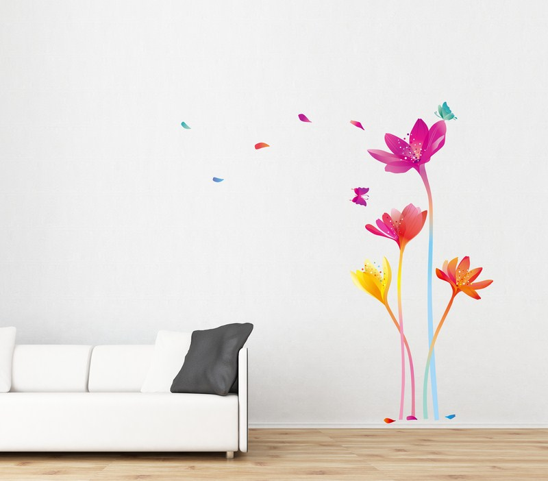 sticker fleurs arc en ciel ambiance sticker amb 20006 stickers muraux stickers d 233 co de