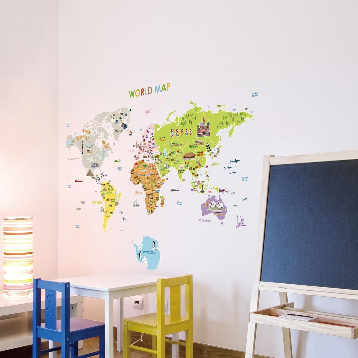 Stickers pour les bébés   sticker carte du monde géante pour ...