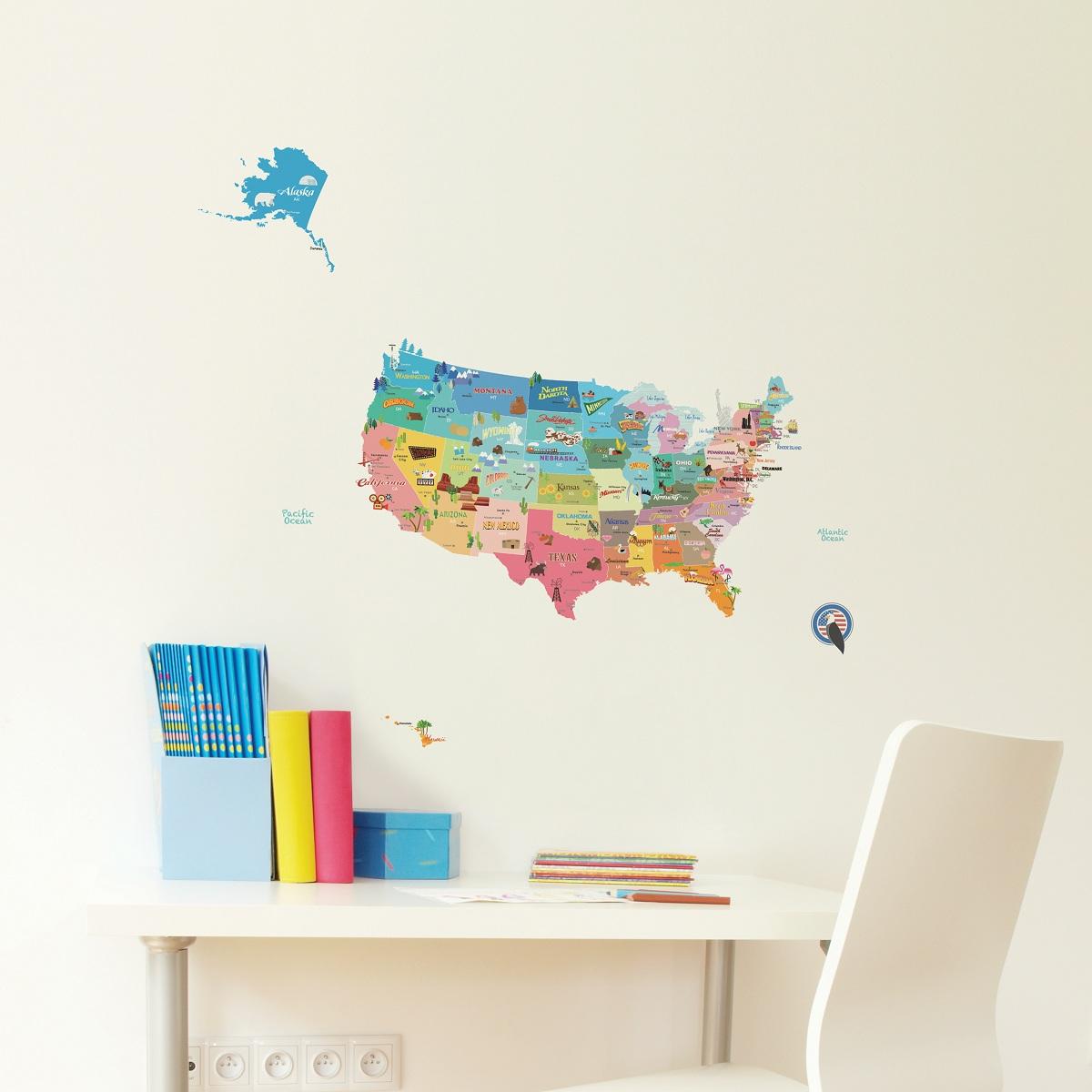 stickers muraux pour les enfants sticker enfant carte des etats unis ambiance. Black Bedroom Furniture Sets. Home Design Ideas