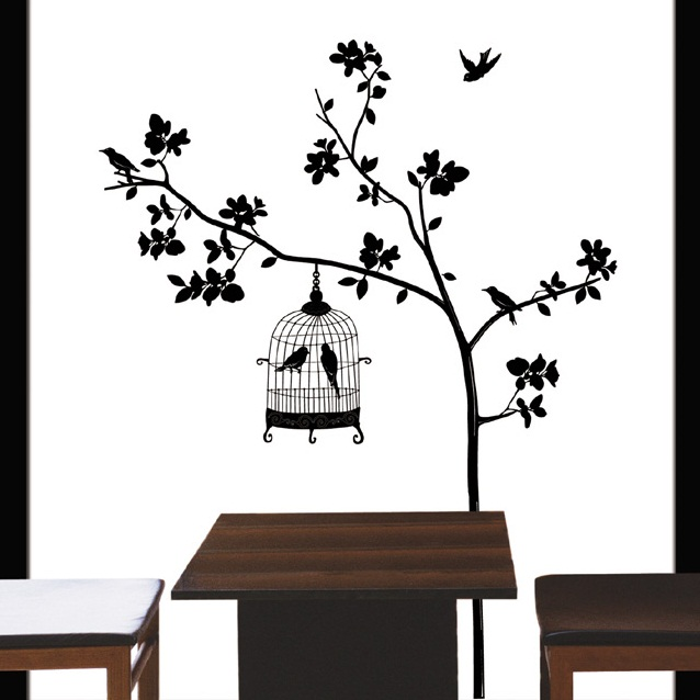 Arbre et cage oiseau stickers muraux nature for Stickers muraux