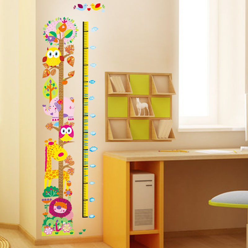 Stickers muraux animaux sticker toise hiboux et giraffe ambiance - Toise en bois personnalisable ...