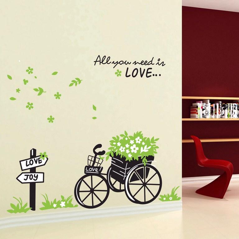 Stickers muraux fleurs sticker love et v lo for Stickers chambre love