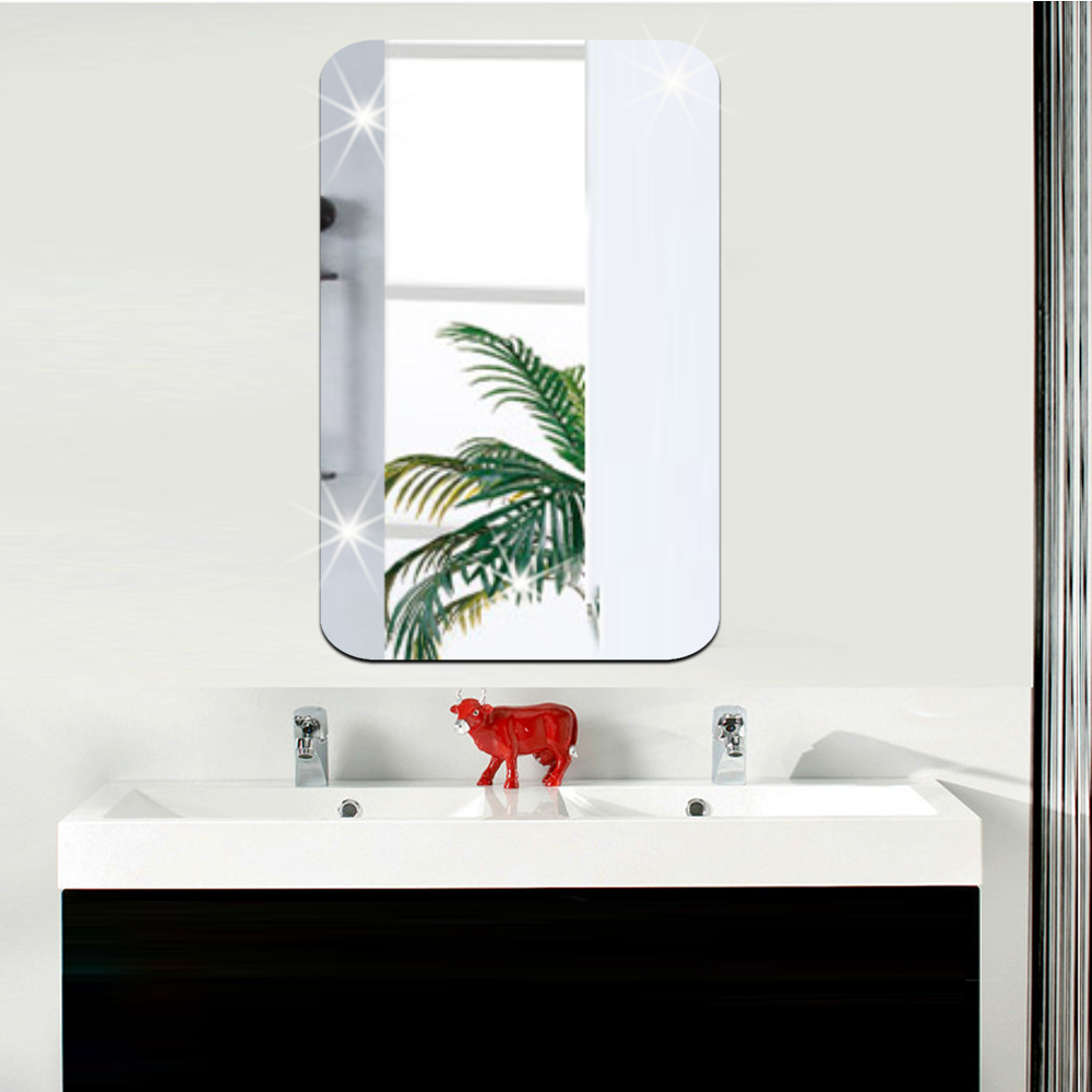 Sticker miroir rectangle bords arrondis 42x27 cm for Stickers miroir cuisine