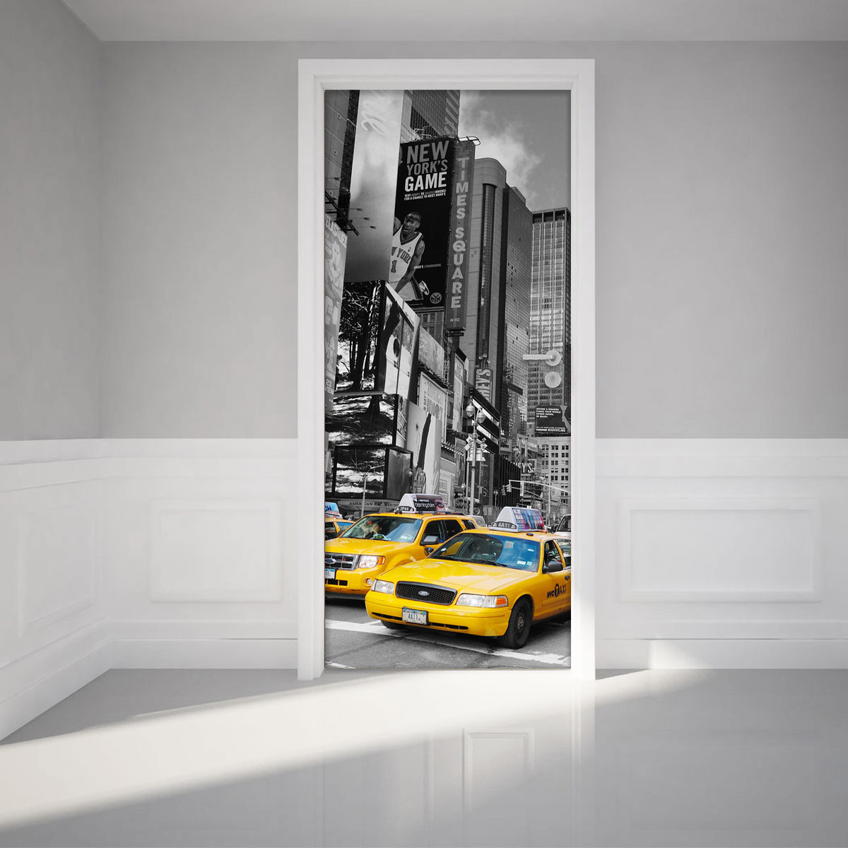 sticker porte 204x83 cm time square et taxis stickers villes et voyages new york ambiance. Black Bedroom Furniture Sets. Home Design Ideas