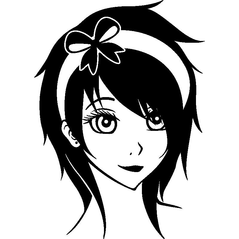 Sticker personnage manga avec une bandeau stickers - Personnage manga fille ...