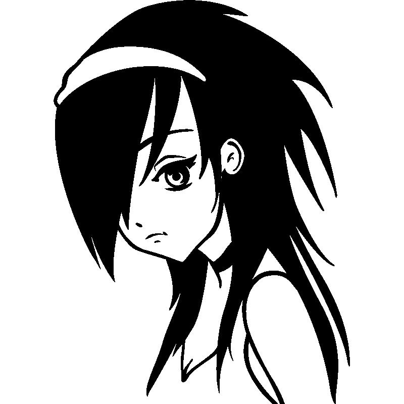 Sticker personnage manga triste stickers dessins anim s - Personnage manga fille ...