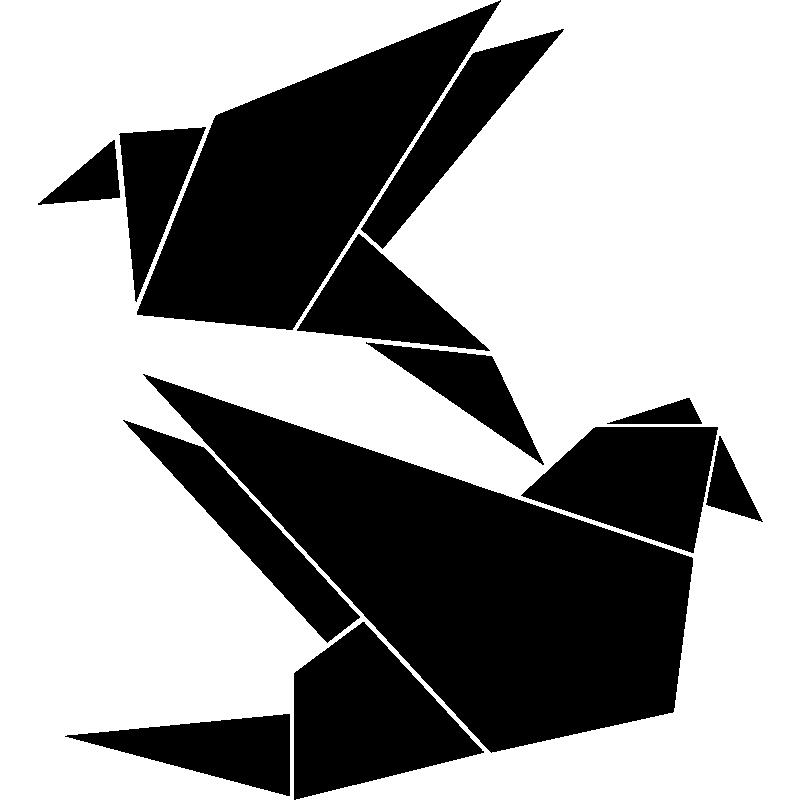 Muursticker origami vogelstand muurstickers dieren vogel ambiance sticker - Deco kamer stijl engels ...