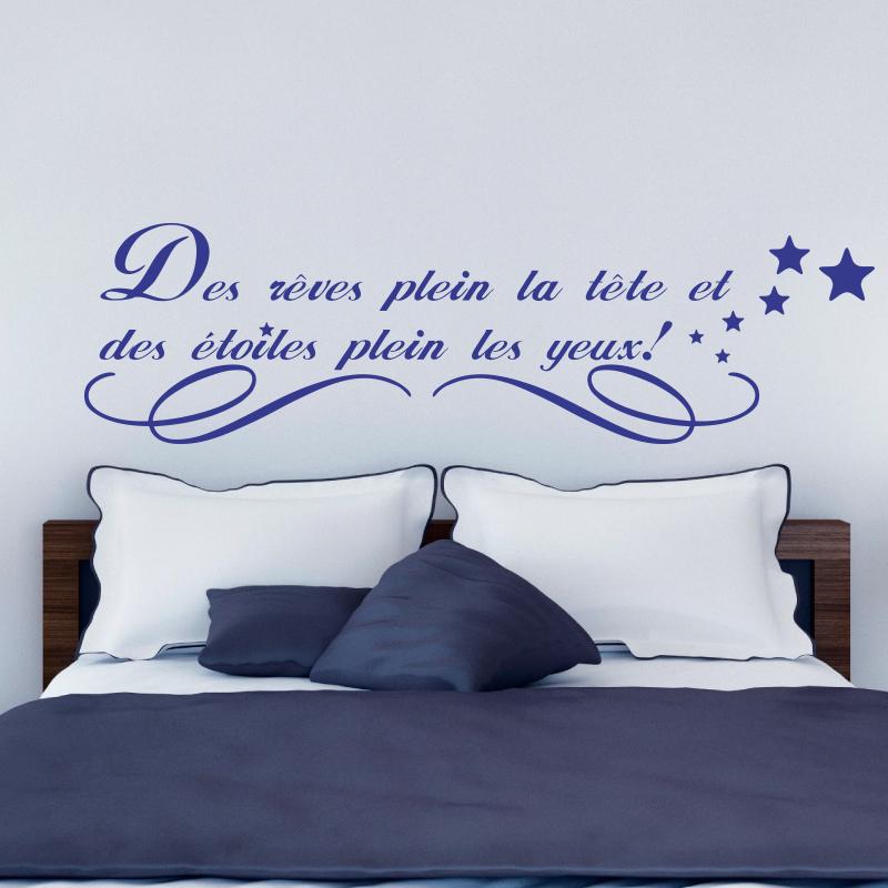 sticker des r ves plein la t te stickers citations. Black Bedroom Furniture Sets. Home Design Ideas