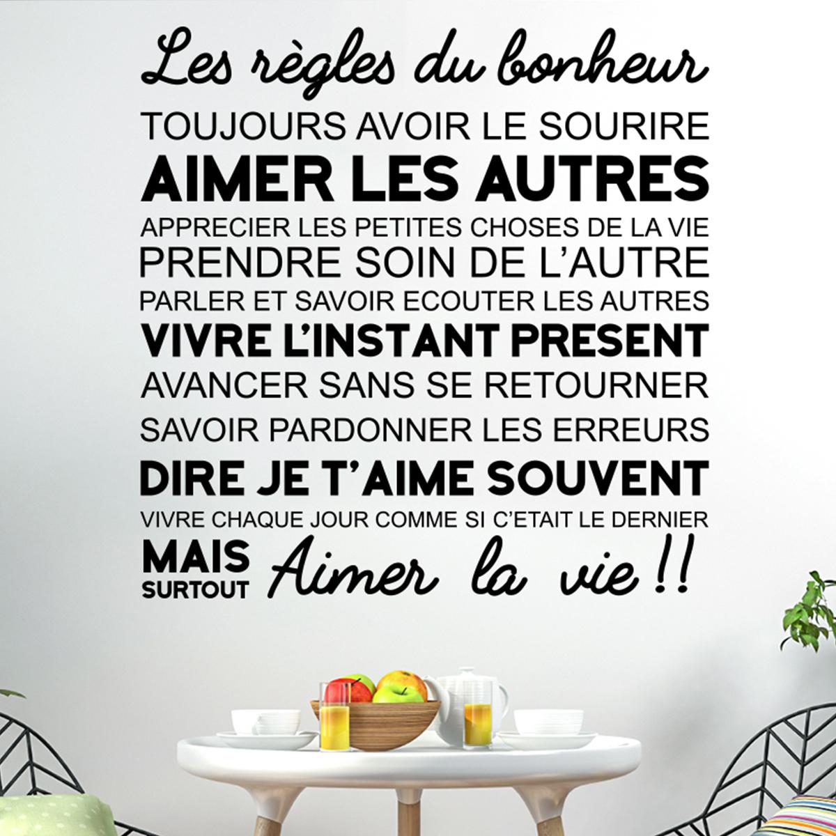 Sticker citation les r gles du bonheur stickers - Les petites assiettes la fourchette ...