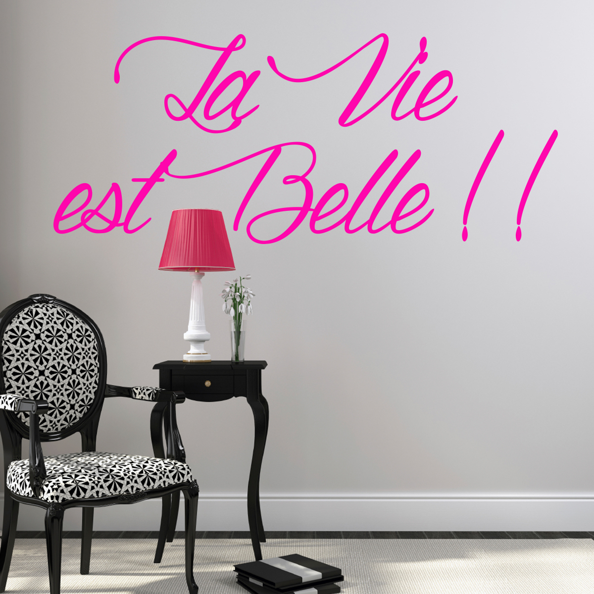 sticker citation la vie est belle stickers citations. Black Bedroom Furniture Sets. Home Design Ideas